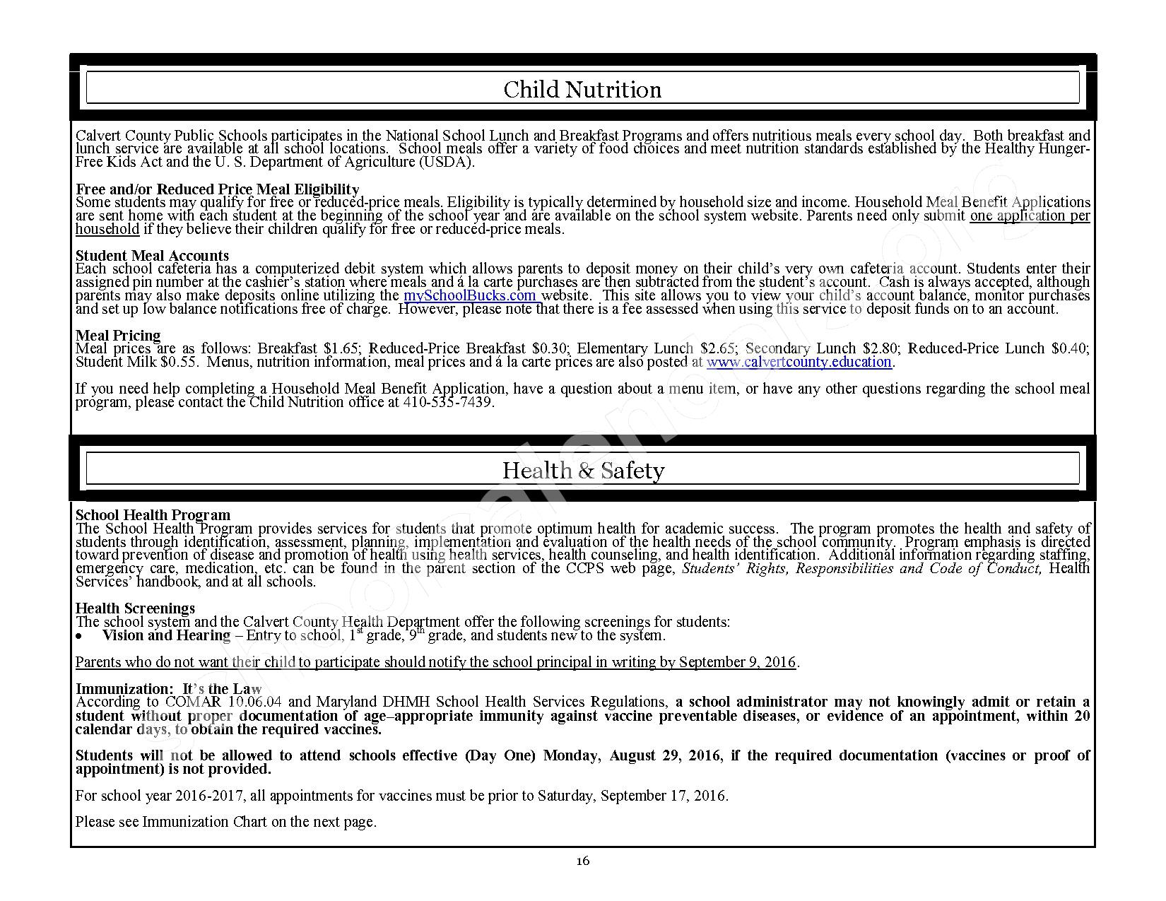2016 - 2017 CCPS School Handbook – Plum Point Middle School – page 16