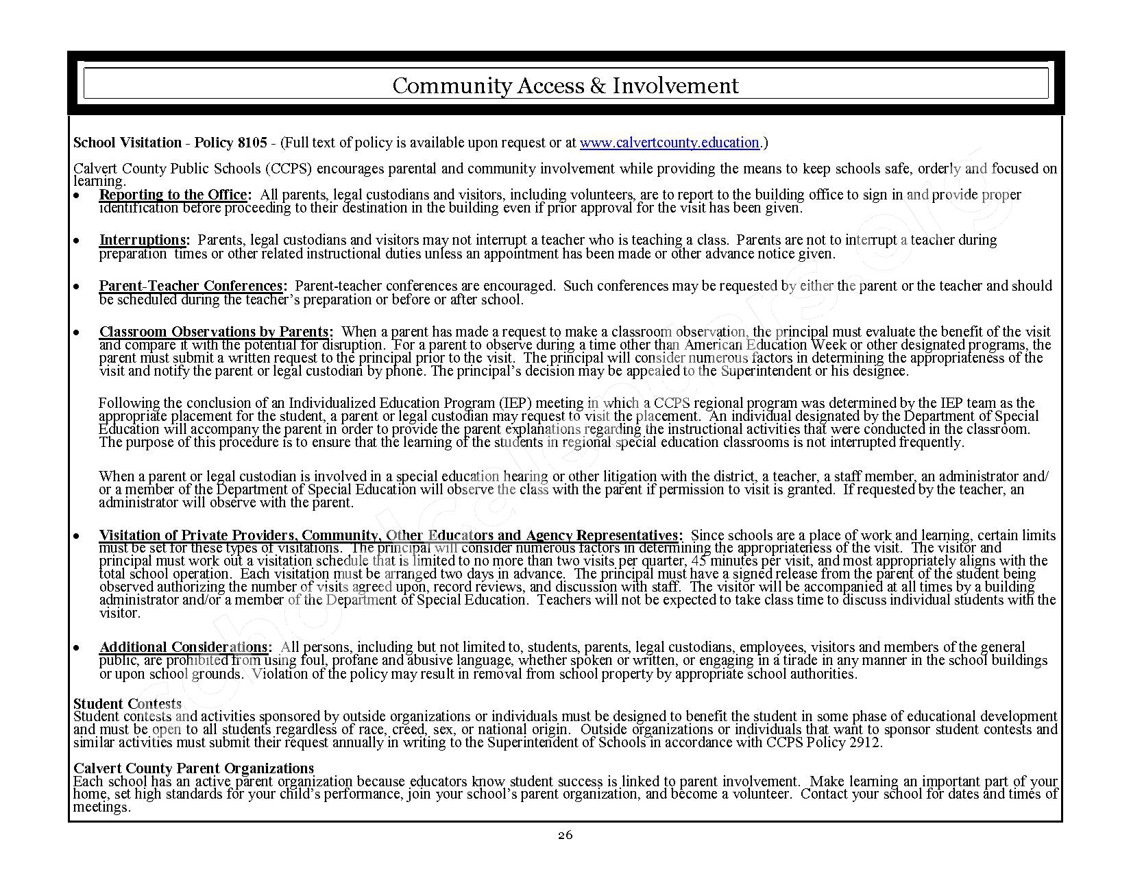 2016 - 2017 CCPS School Handbook – Plum Point Middle School – page 26