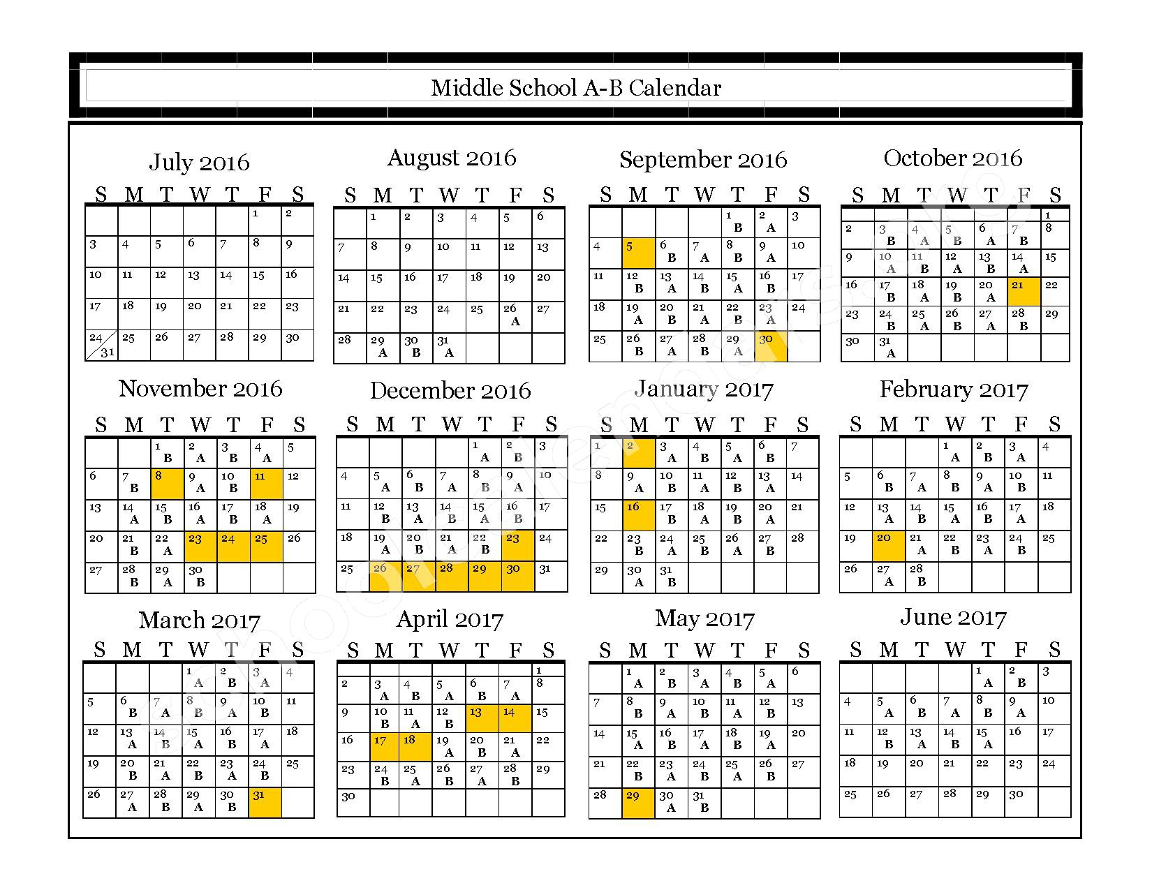 2016 - 2017 Middle A-B Calendar – Plum Point Middle School – page 1