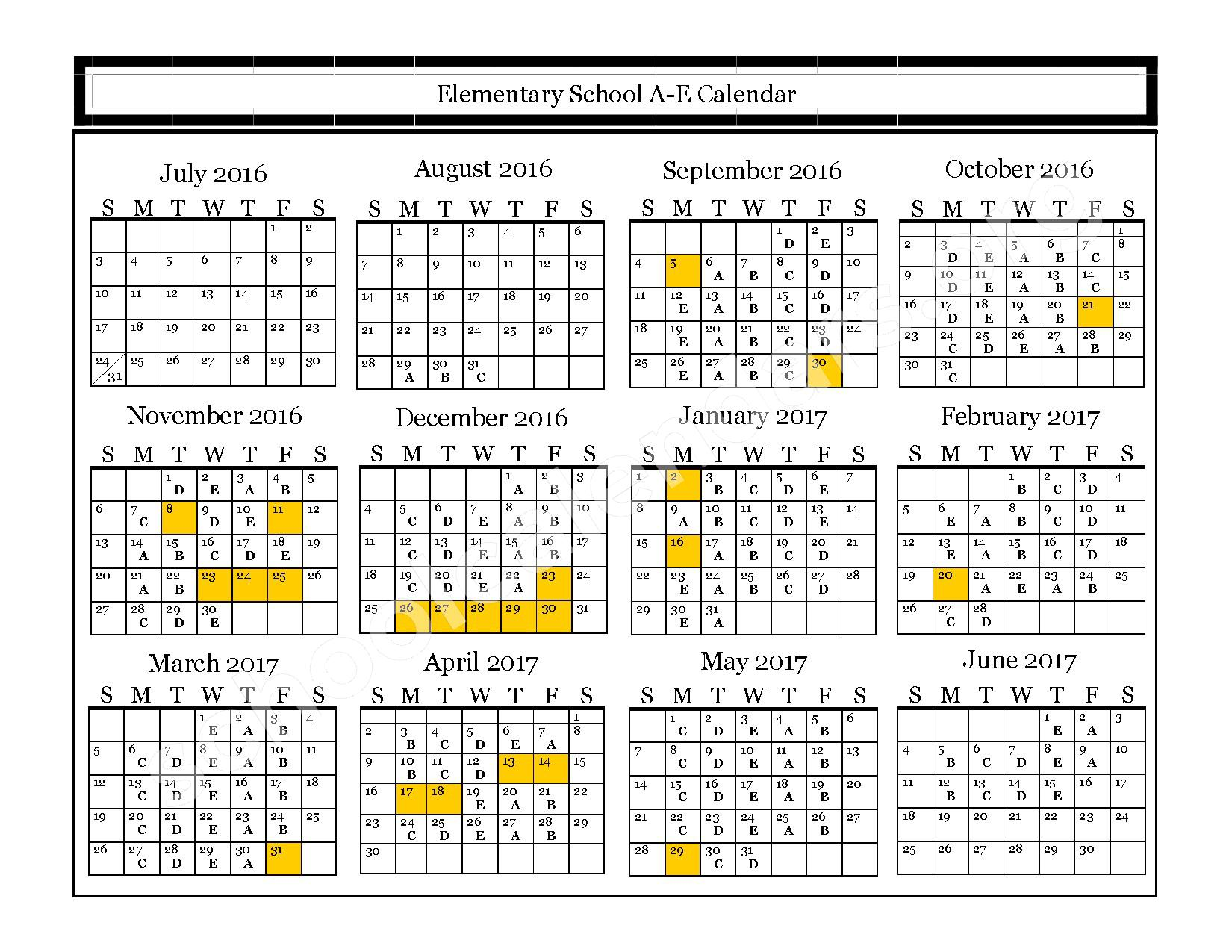 2016 - 2017 Elementary A-E Calendar – Northern High School – page 1