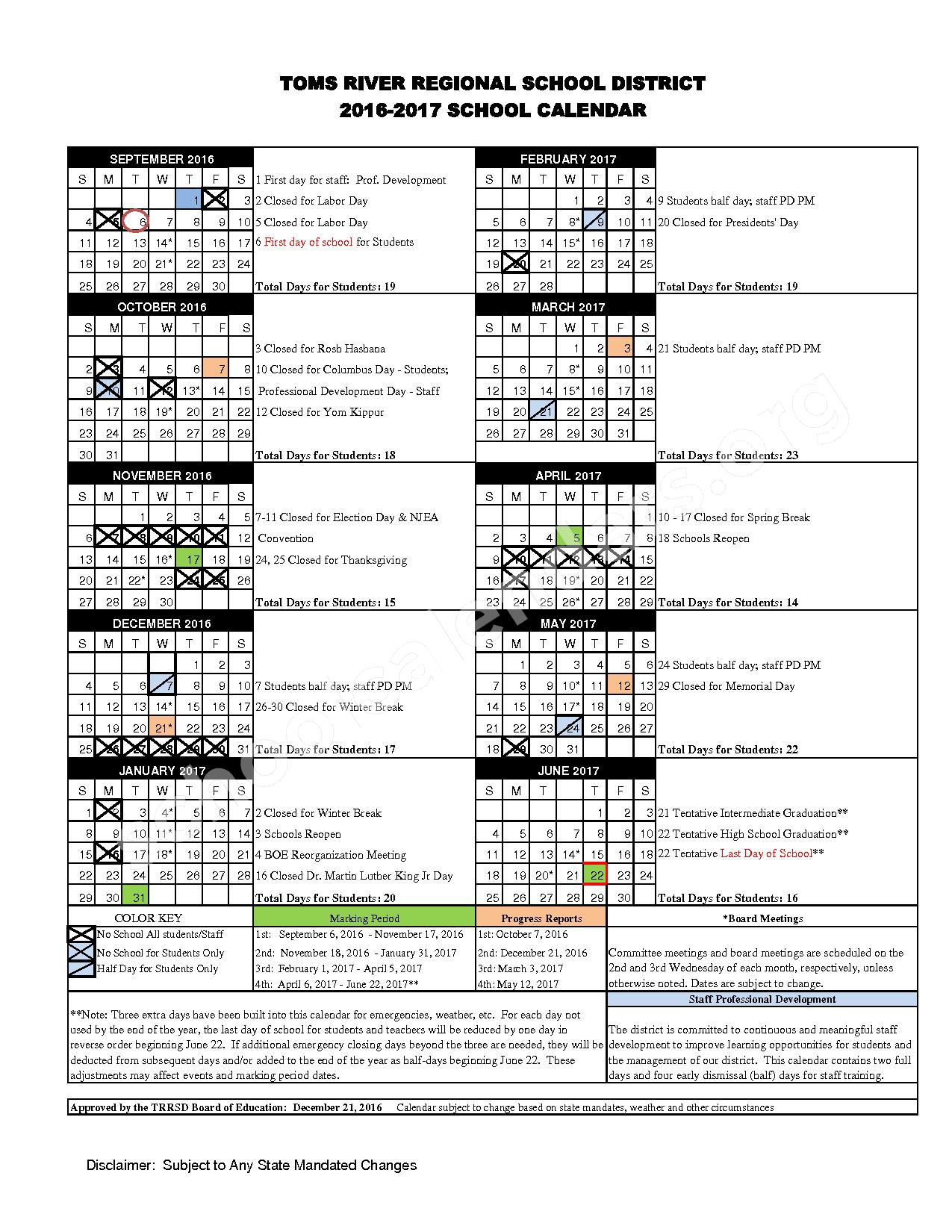 2016 - 2017 District Calendar – East Dover Elementary School – page 1
