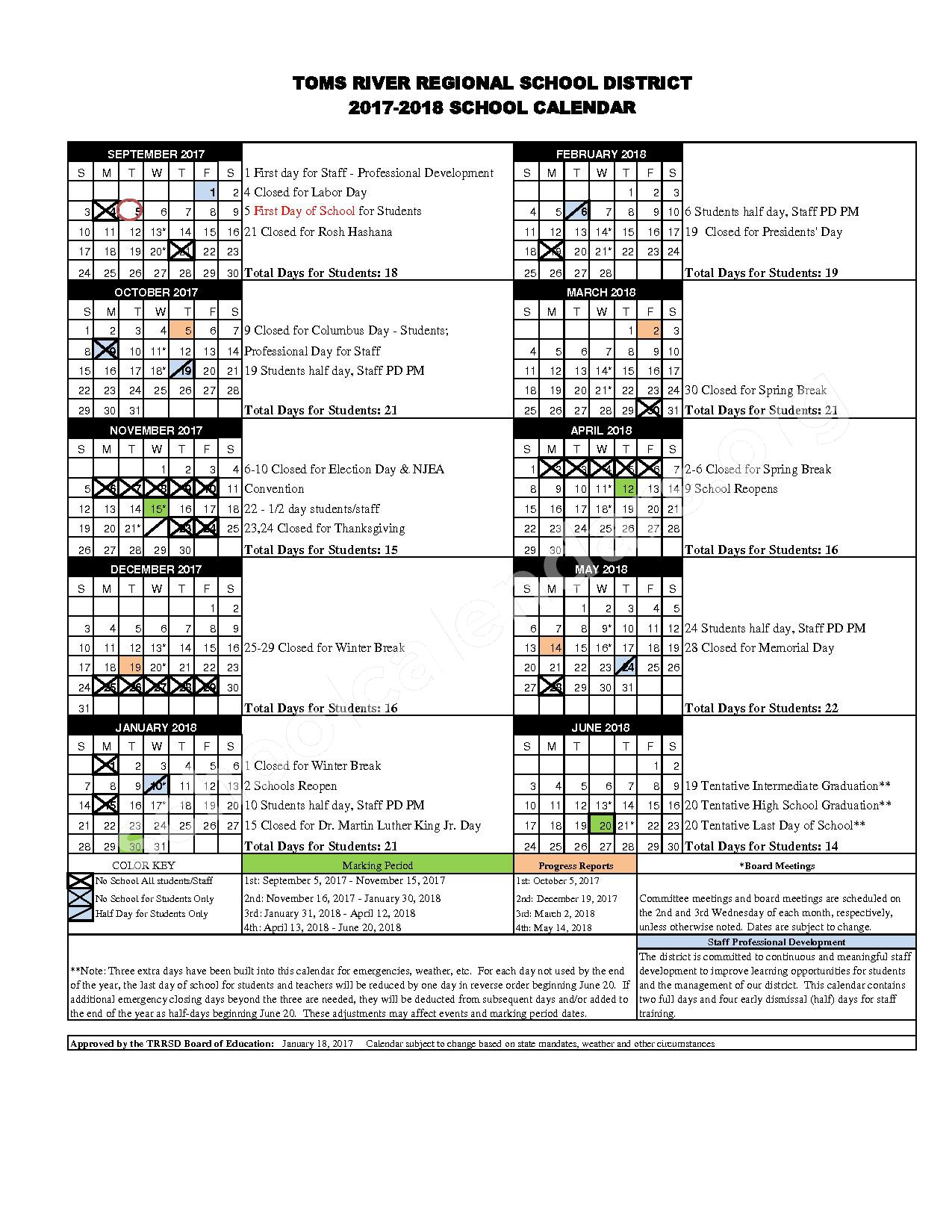 2017 - 2018 District Calendar – Toms River Regional Schools – page 1
