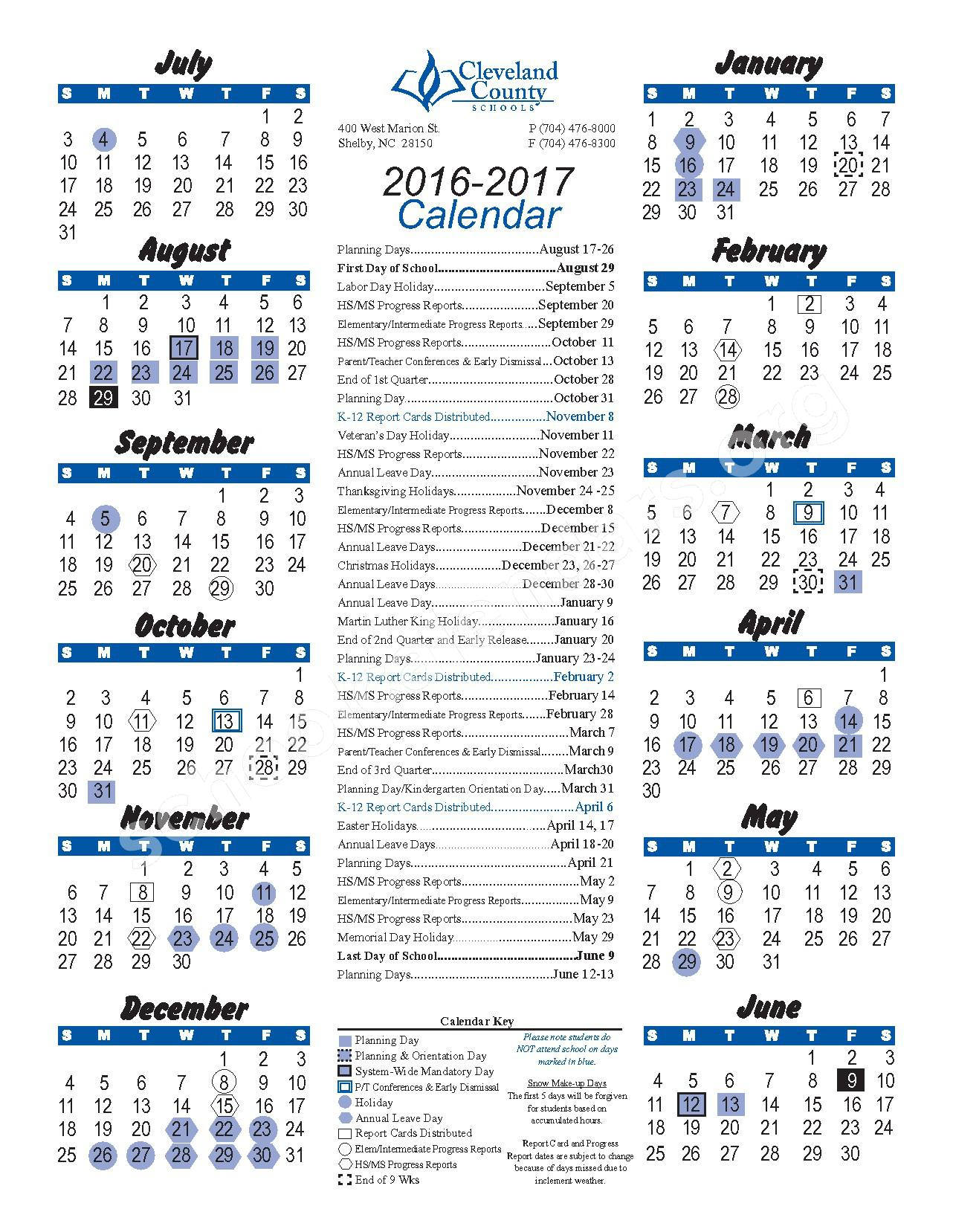 2016 - 2017 District Calendar – Graham Elementary School – page 1