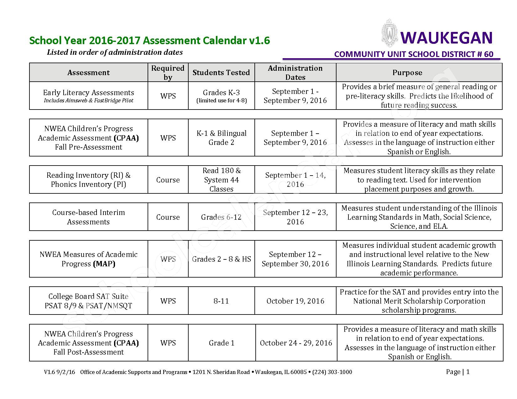 2016 - 2017 School Calendar – Early Learning Center – page 1