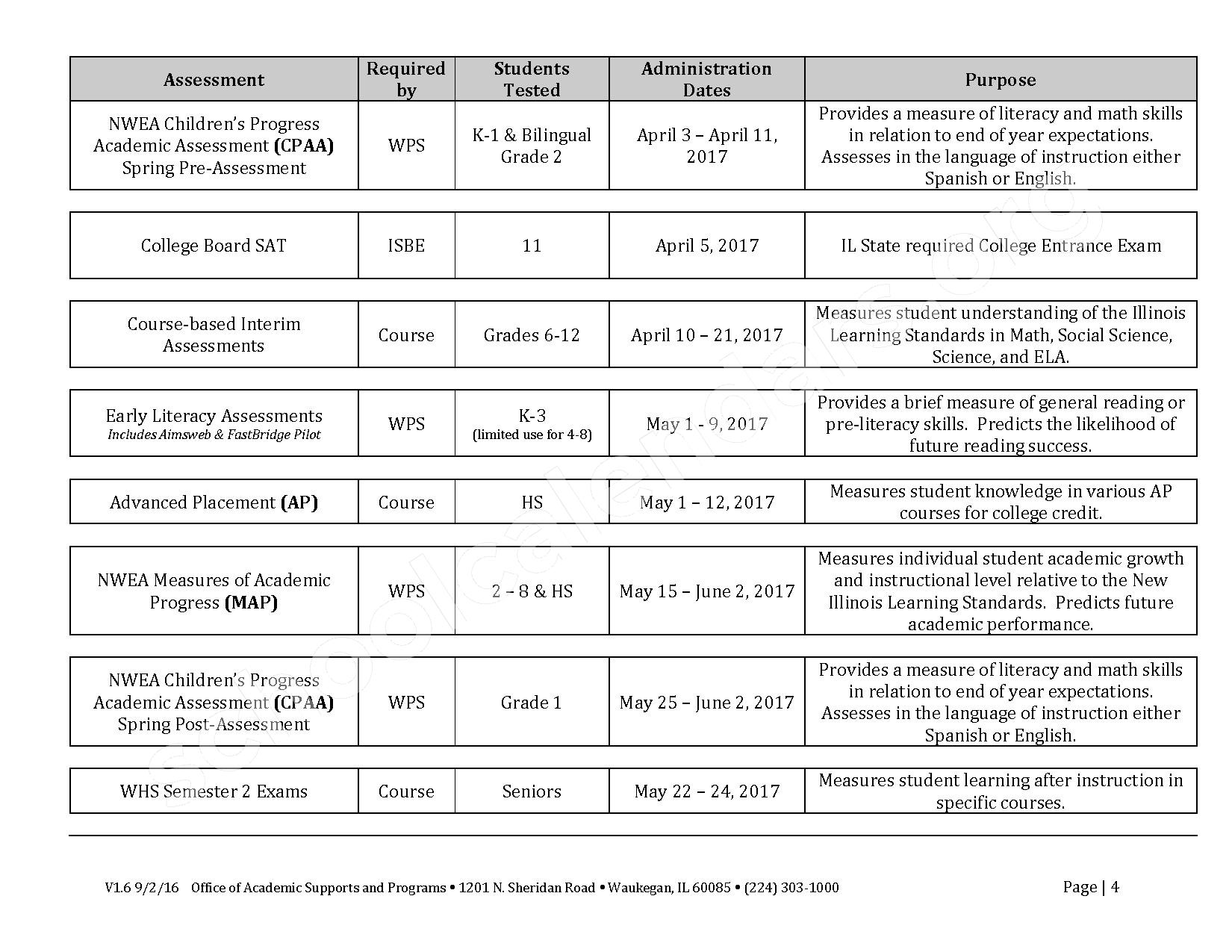 2016 - 2017 School Calendar – Early Learning Center – page 4