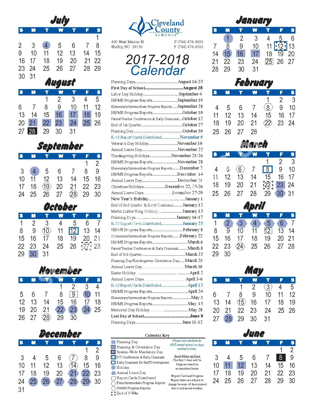 2017 - 2018 District Calendar – Cleveland County Schools – page 1