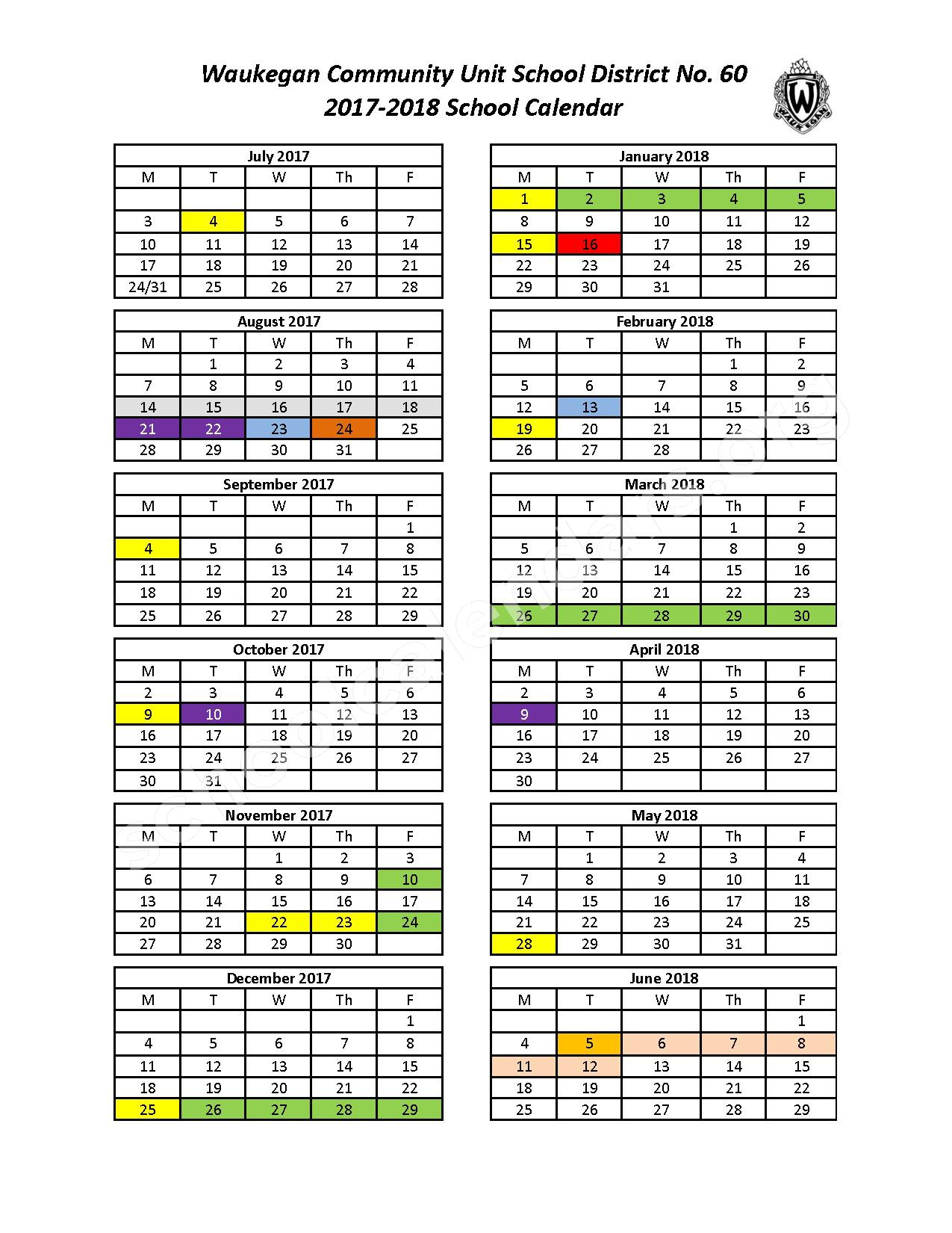 2017 - 2018 School Calendar – Waukegan Community Unit School District 60 – page 1