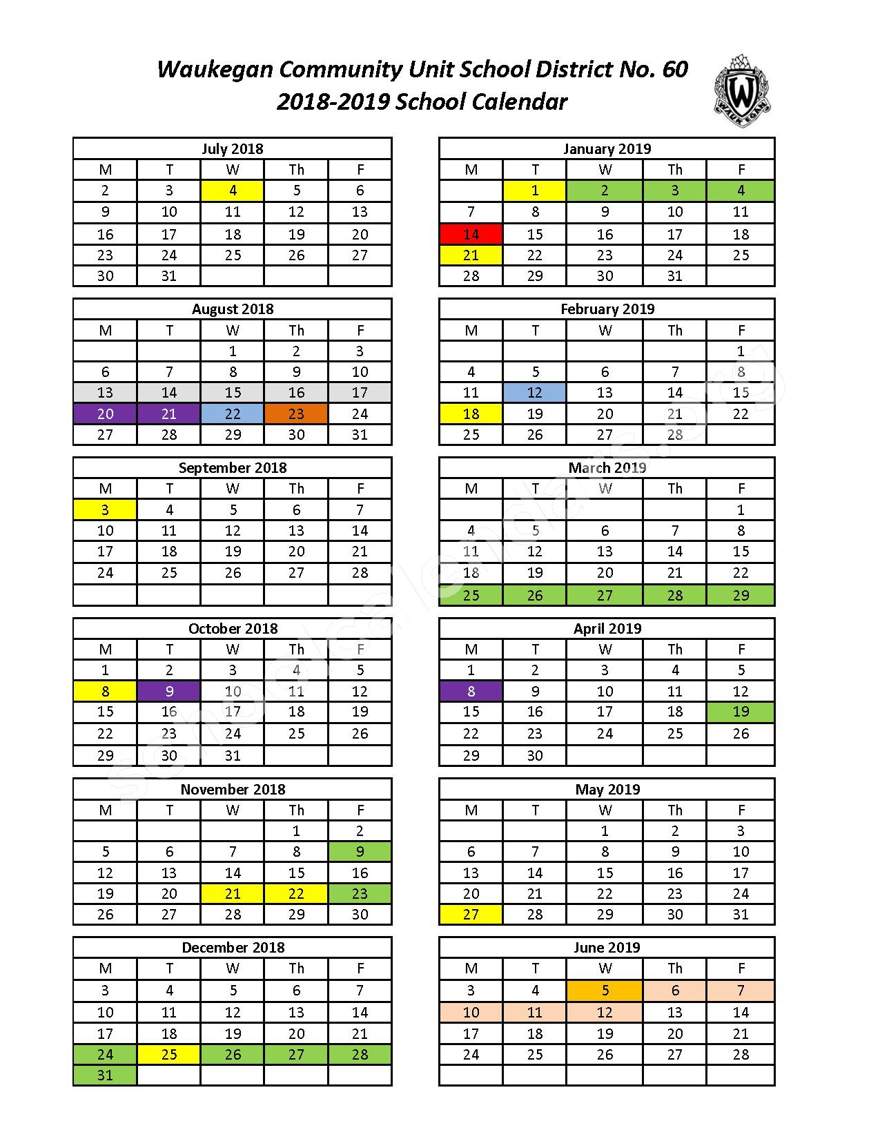2018 - 2019 School Calendar – Waukegan Community Unit School District 60 – page 1