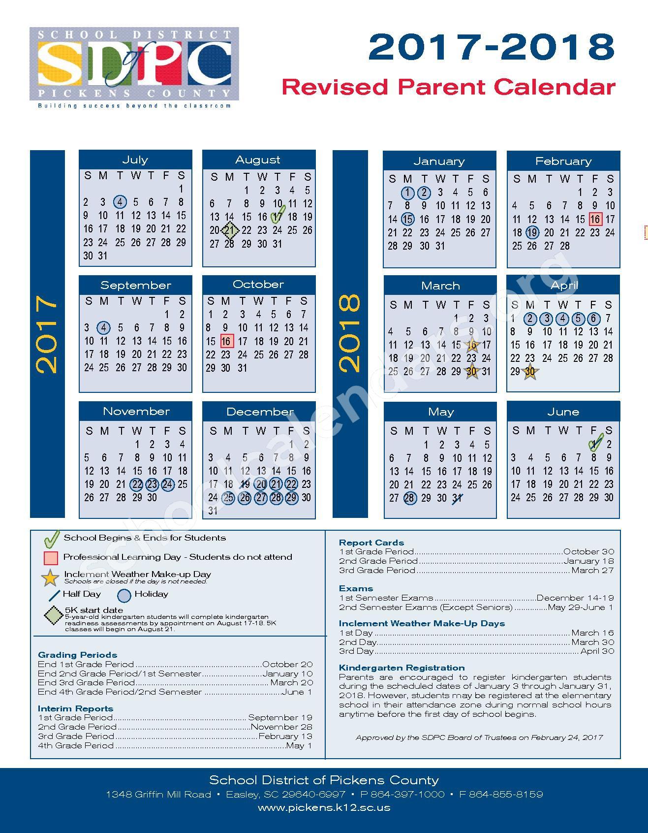 2017 - 2018 Parent Calendar – Hagood Elementary School – page 1