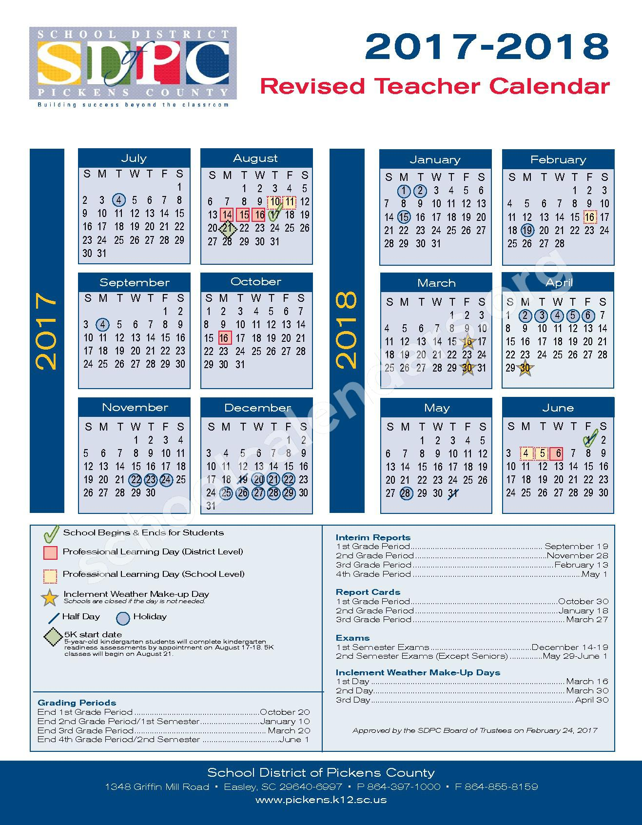 2017 - 2018 Teacher Calendar – Pickens County School District  – page 1