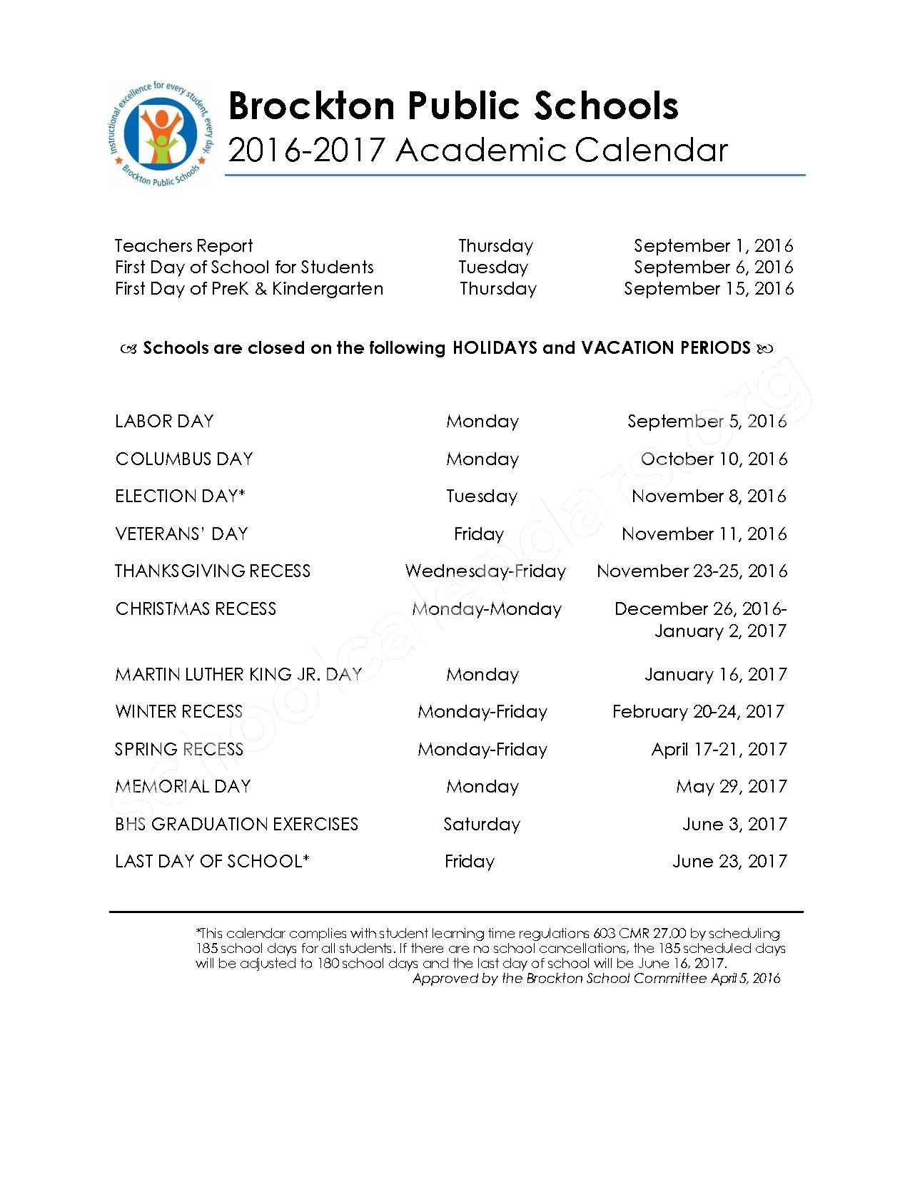 2016 - 2017 Academic & Supplemental Calendar – West Middle School – page 1