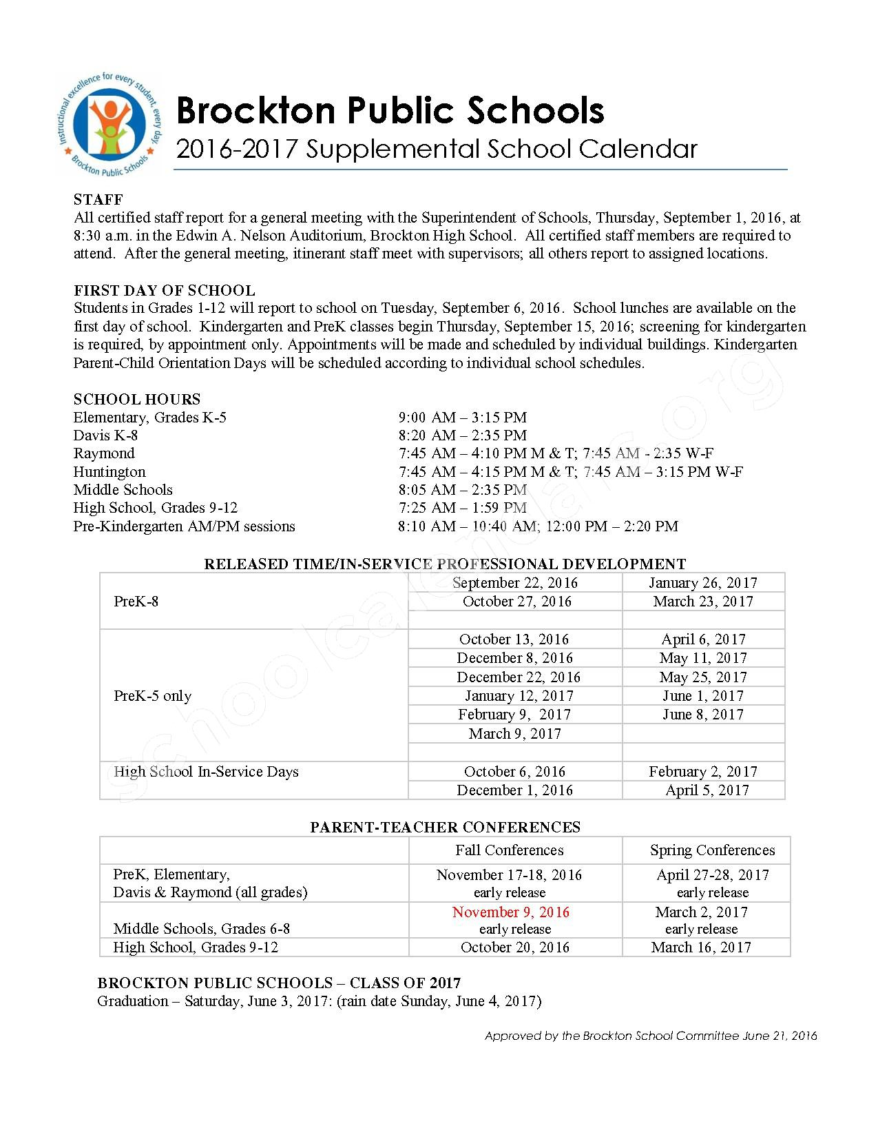 2016 - 2017 Academic & Supplemental Calendar – West Middle School – page 2
