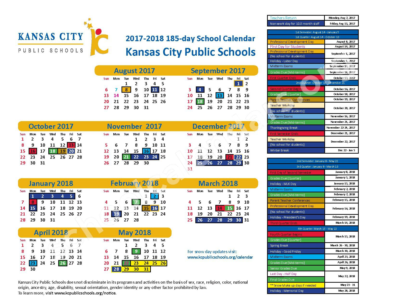 2017 - 2018 KCPS 185-day Calendar – Kansas City Public Schools – page 1