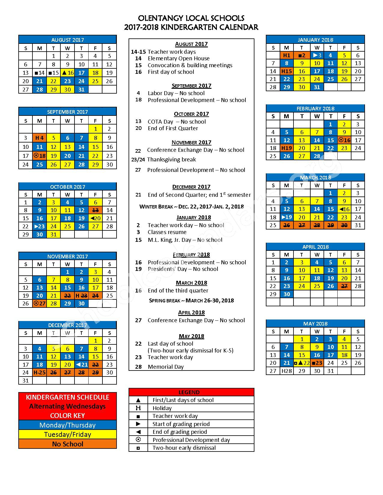 2017 - 2018 School Calendar – Olentangy Liberty Middle School – page 1