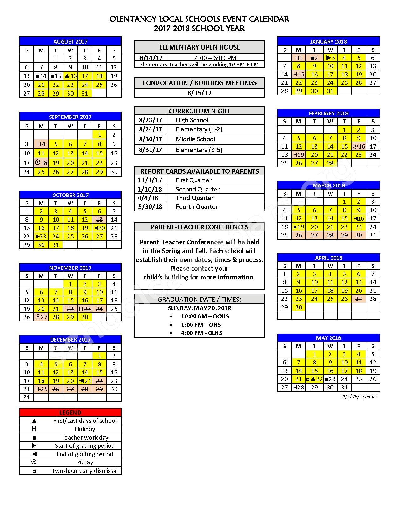 2017 - 2018 District Calendar – Olentangy Local School District – page 1