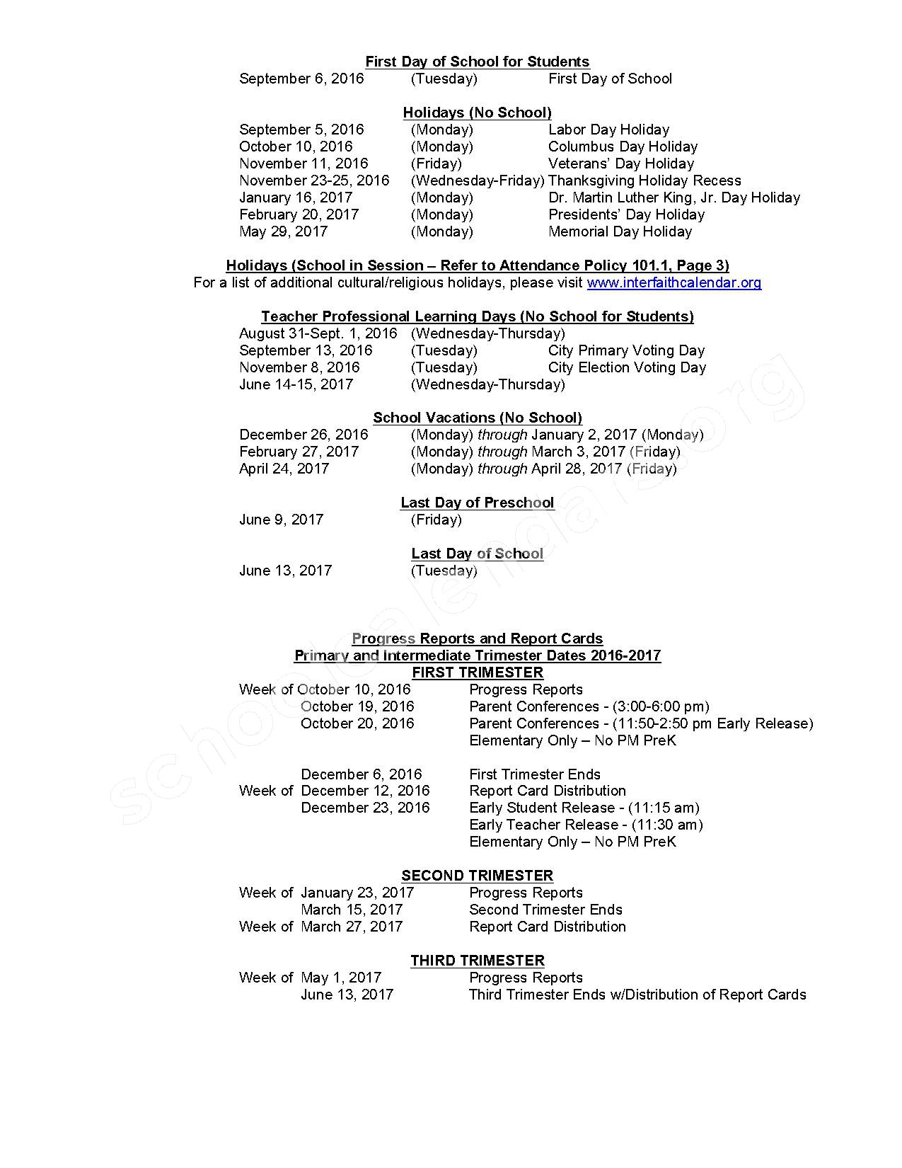 2016 - 2017 District Calendar – Highland-Goffs Falls School – page 2