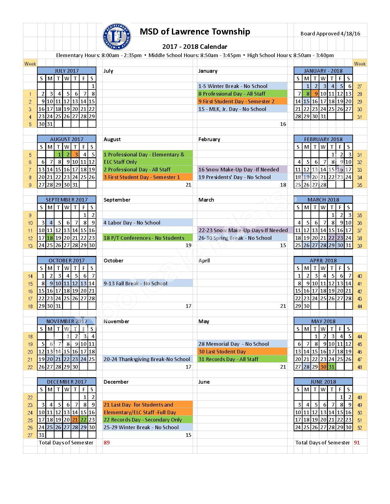 2017 - 2018 School Year Calendar – Metropolitan School District of Lawrence Township – page 1