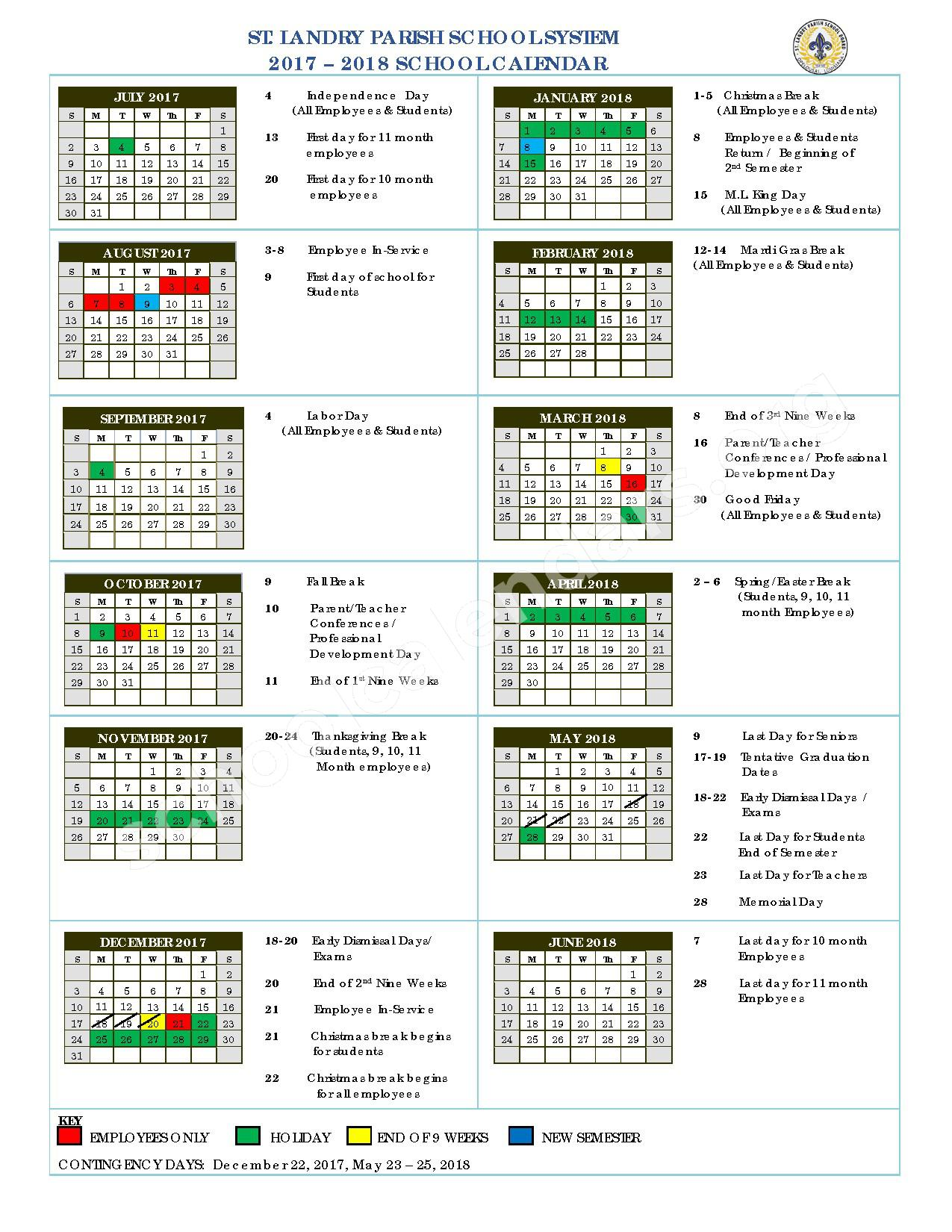 2017 - 2018 Academic Calendar – North Central High School – page 1