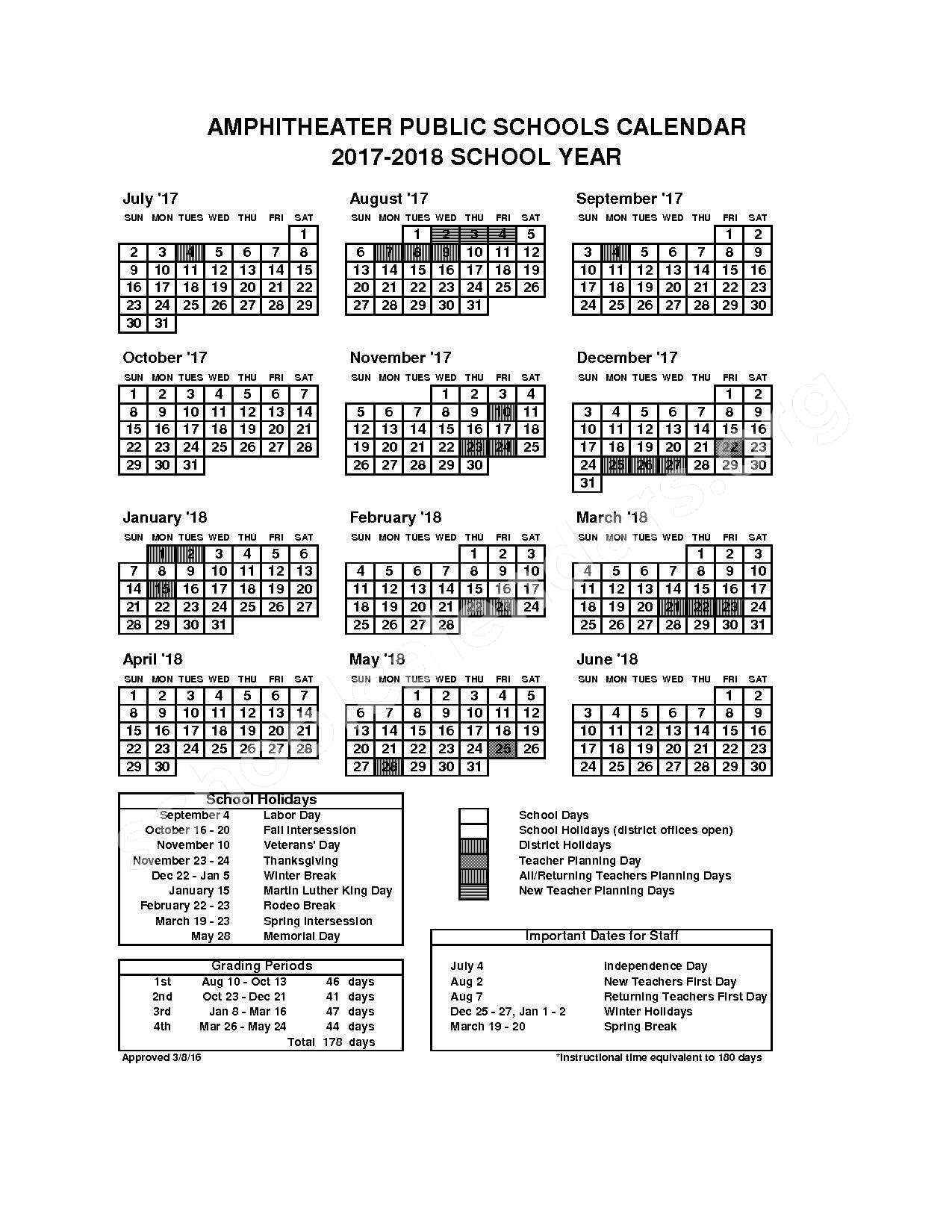 2017 - 2018 District Calendar (black & white) – Amphitheater Public Schools – page 1