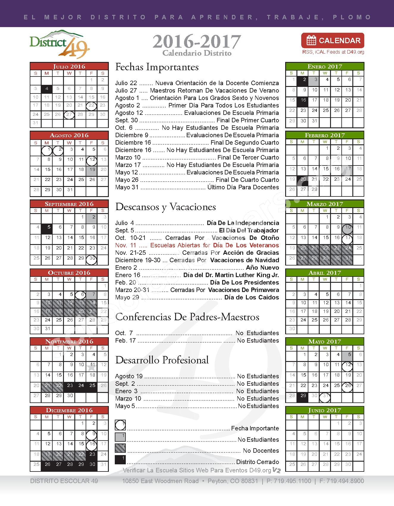 2016 - 2017 Calendario Escolar – Falcon School District 49 – page 1