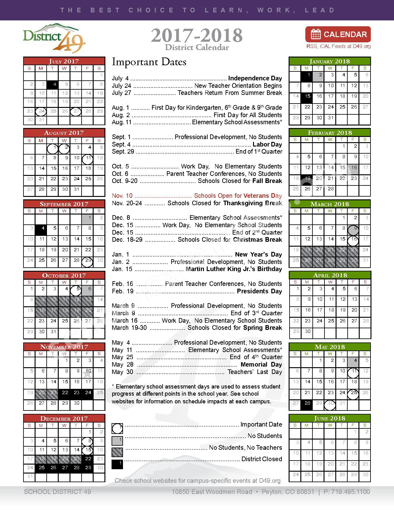 2017 - 2018 District Calendar – Odyssey Elementary School – page 1