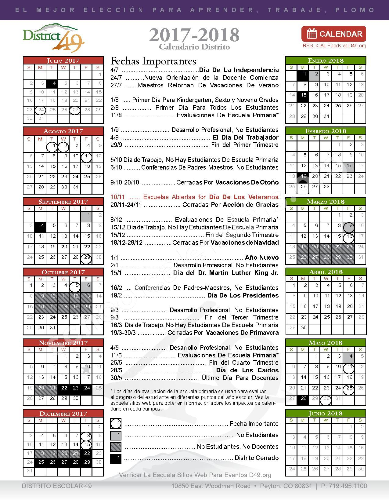 2017 - 2018 Calendario Escolar – Falcon School District 49 – page 1
