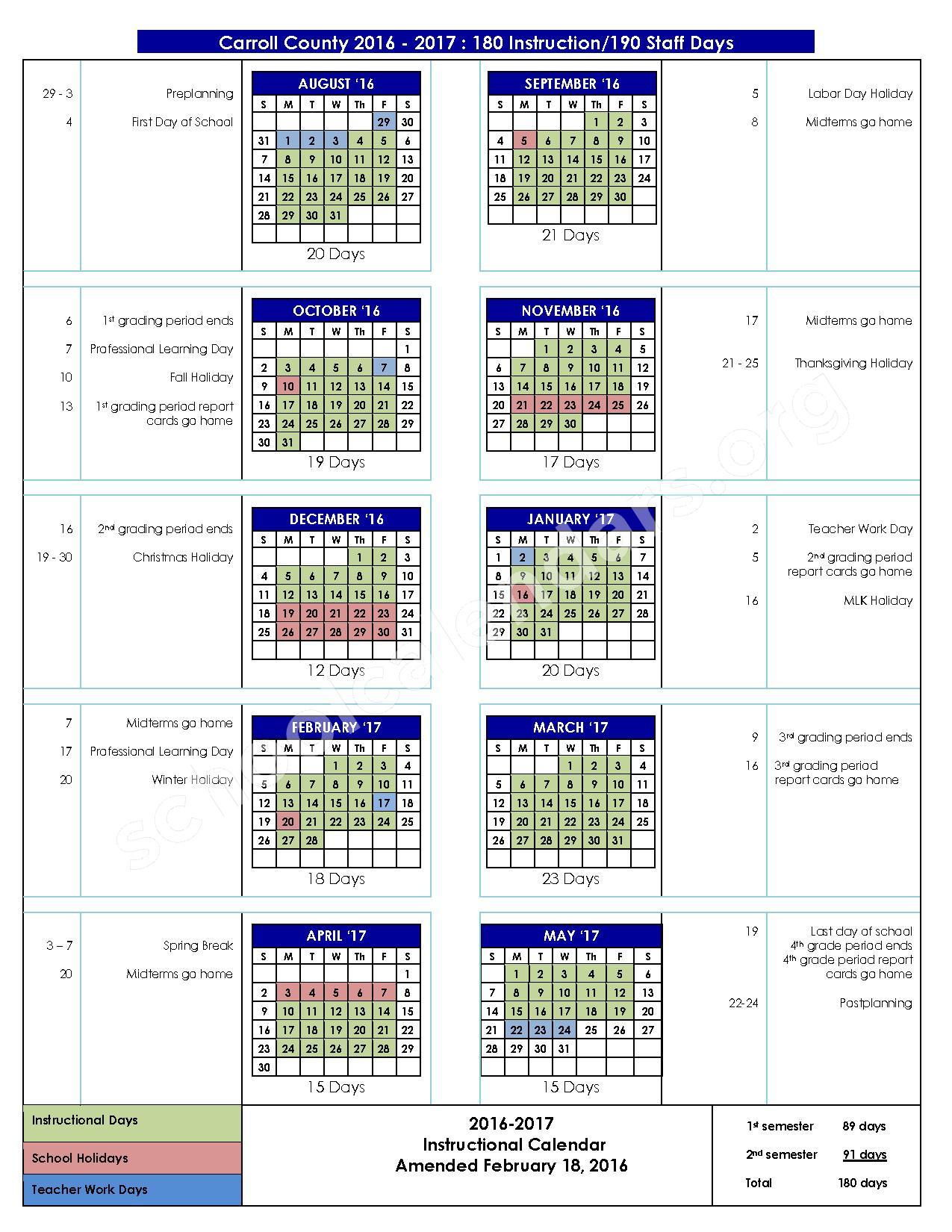 2016 - 2017 School Calendar – Glanton-Hindsman Elementary School – page 1