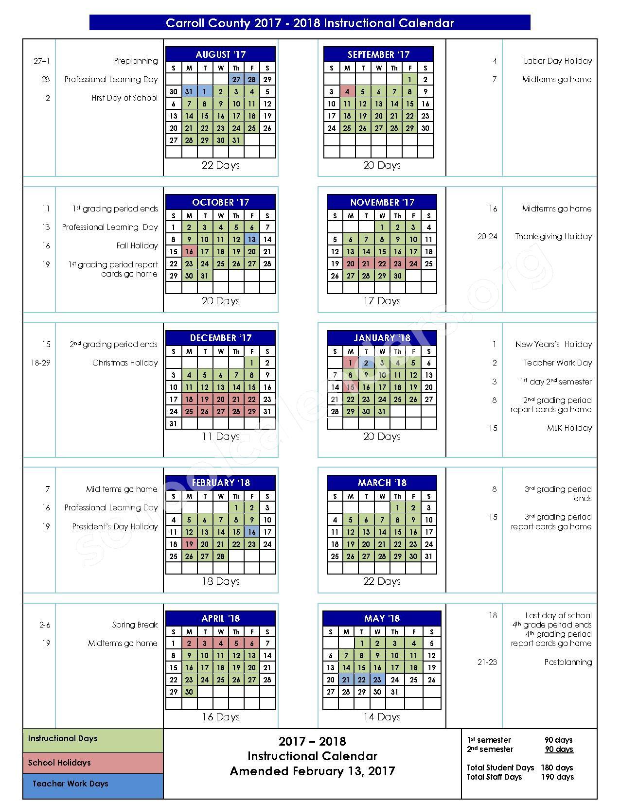 2017 - 2018 School Calendar – Glanton-Hindsman Elementary School – page 1