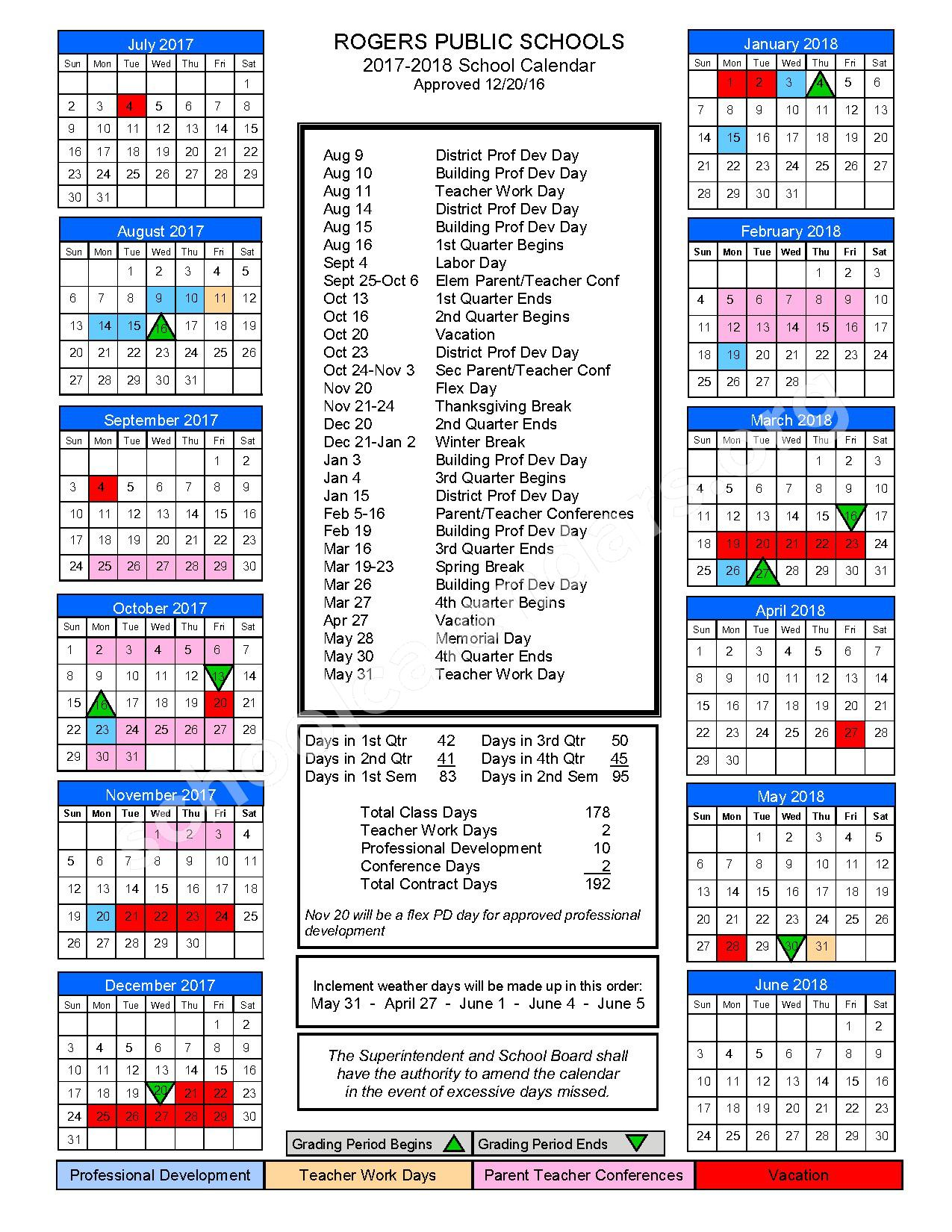 2017 - 2018 District Calendar – Rogers Public Schools – page 1