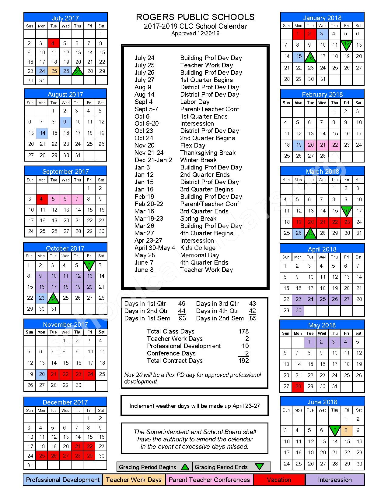 2017 - 2018 Continuous Learning Calendar – Rogers Public Schools – page 1