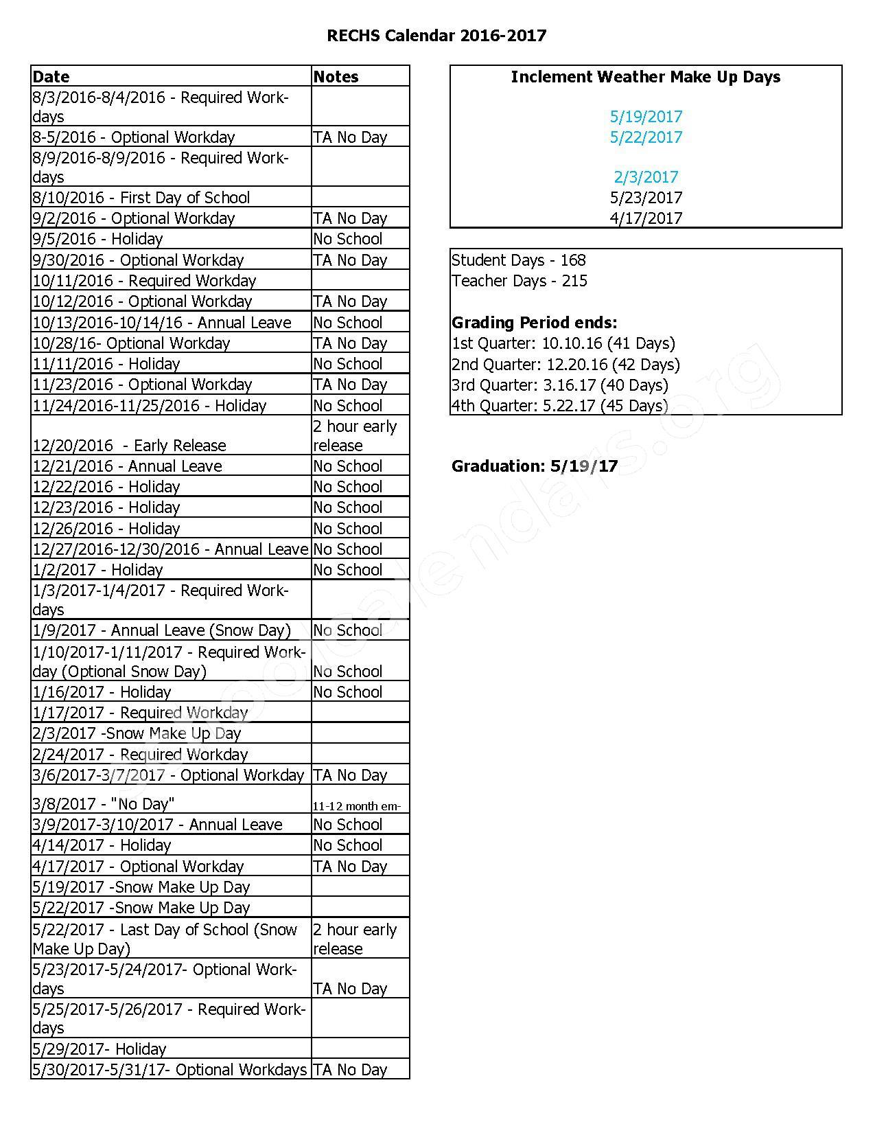 2016 - 2017 District Calendar – Rockingham County Schools – page 2