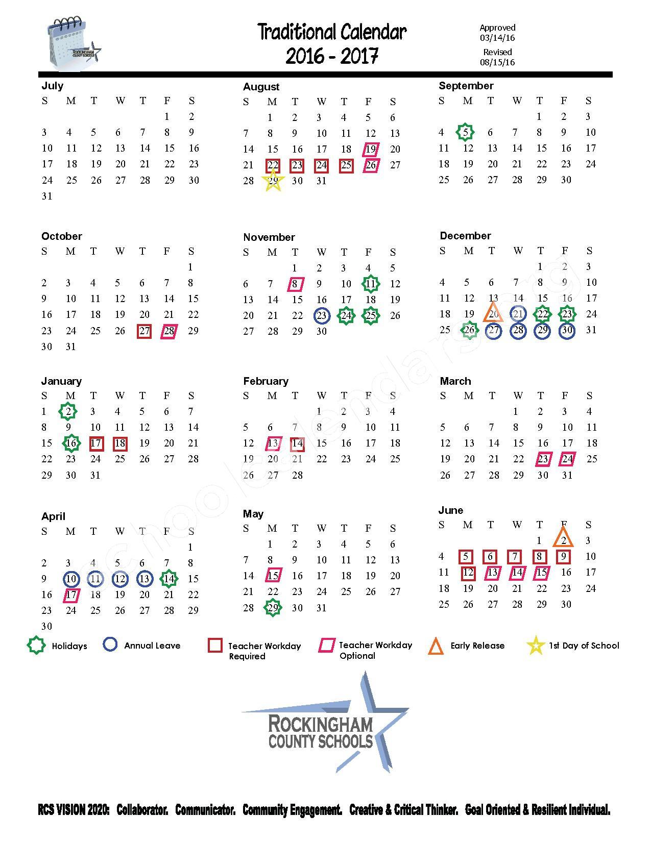 2016 - 2017 District Calendar – Rockingham County Schools – page 1