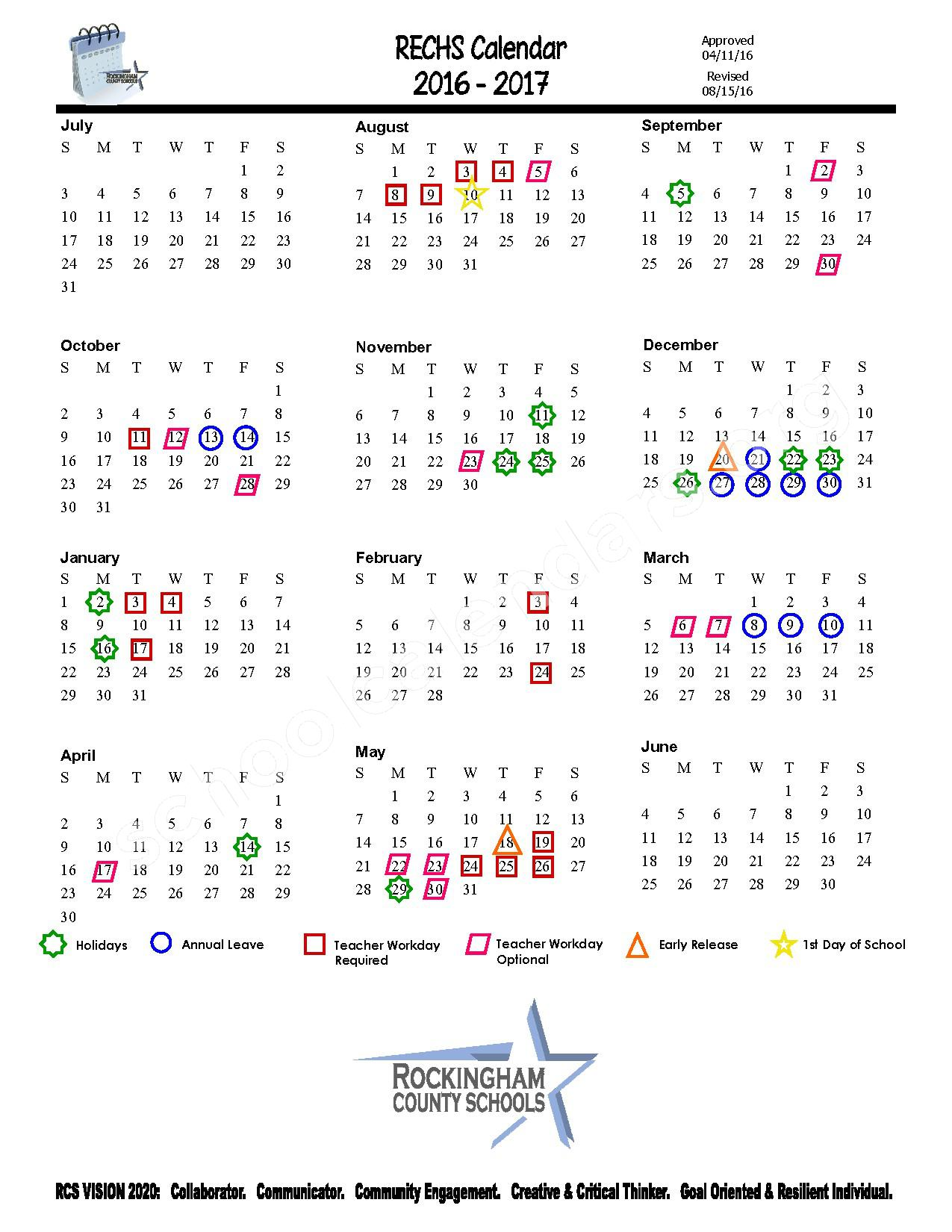 2016 - 2017 District Calendar – Rockingham County Schools – page 1