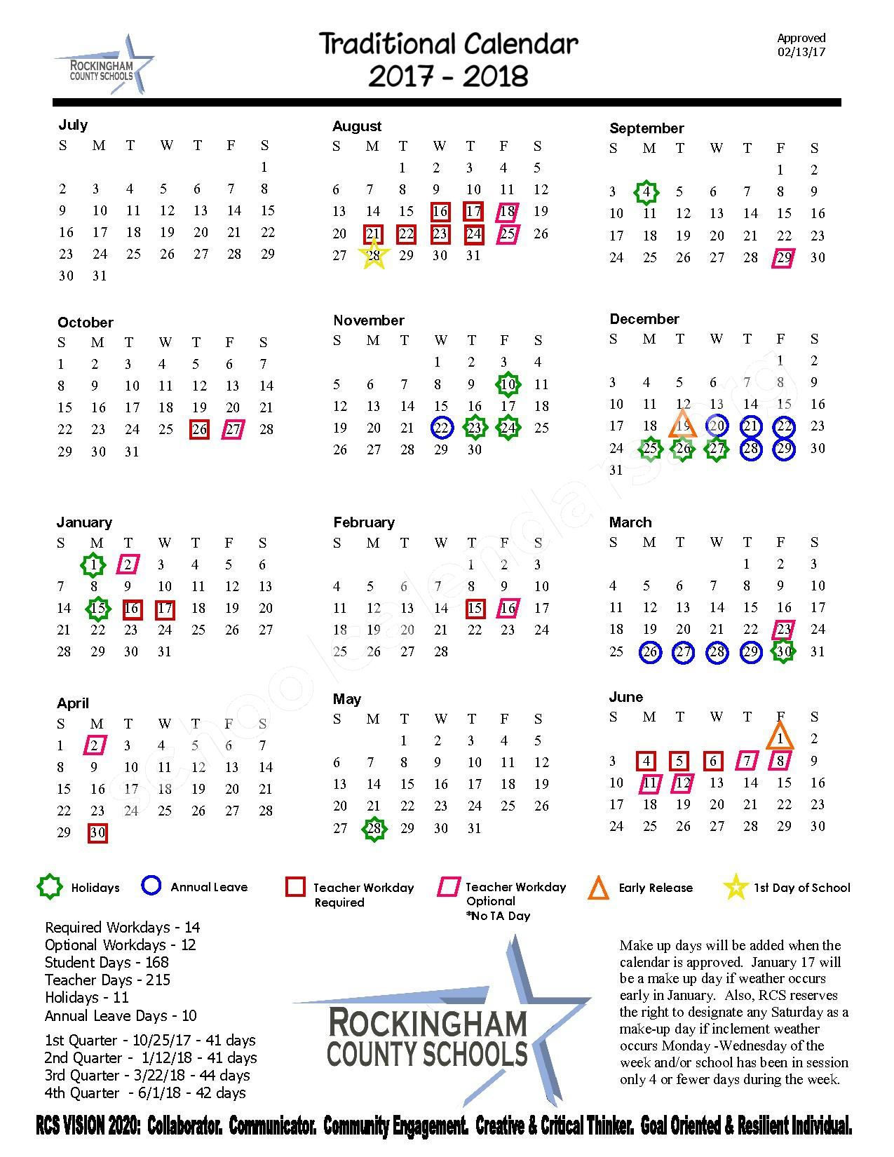 2017 - 2018 District Calendar – Rockingham County Schools – page 1