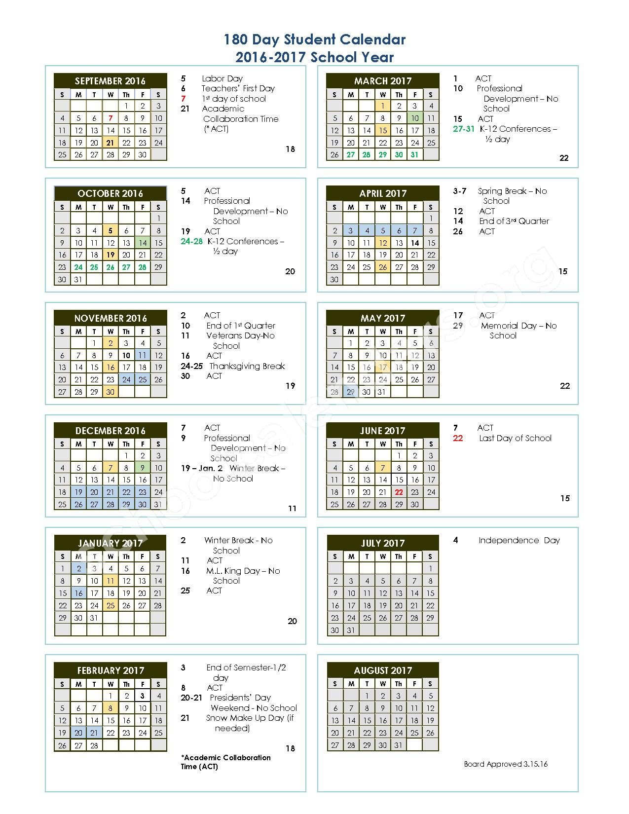 2016 - 2017 180-day Student Calendar – Nisqually Middle School – page 1