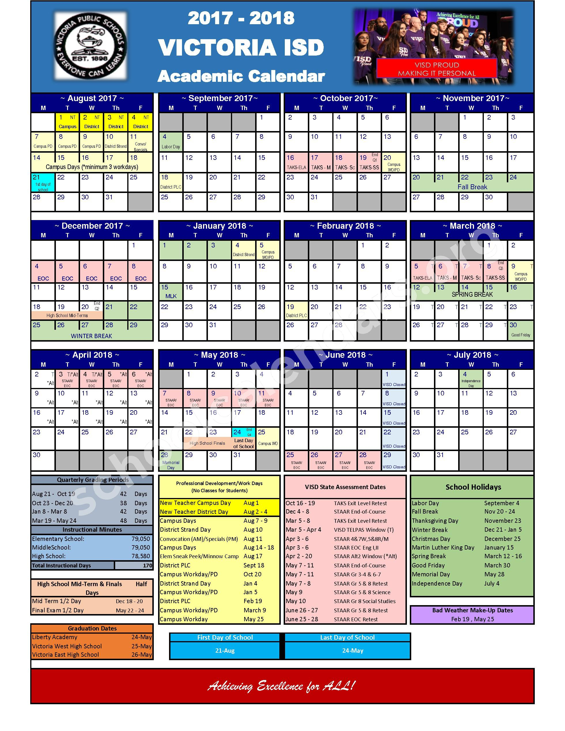 2017 - 2018 School Calendars – Harold Cade Middle School – page 1
