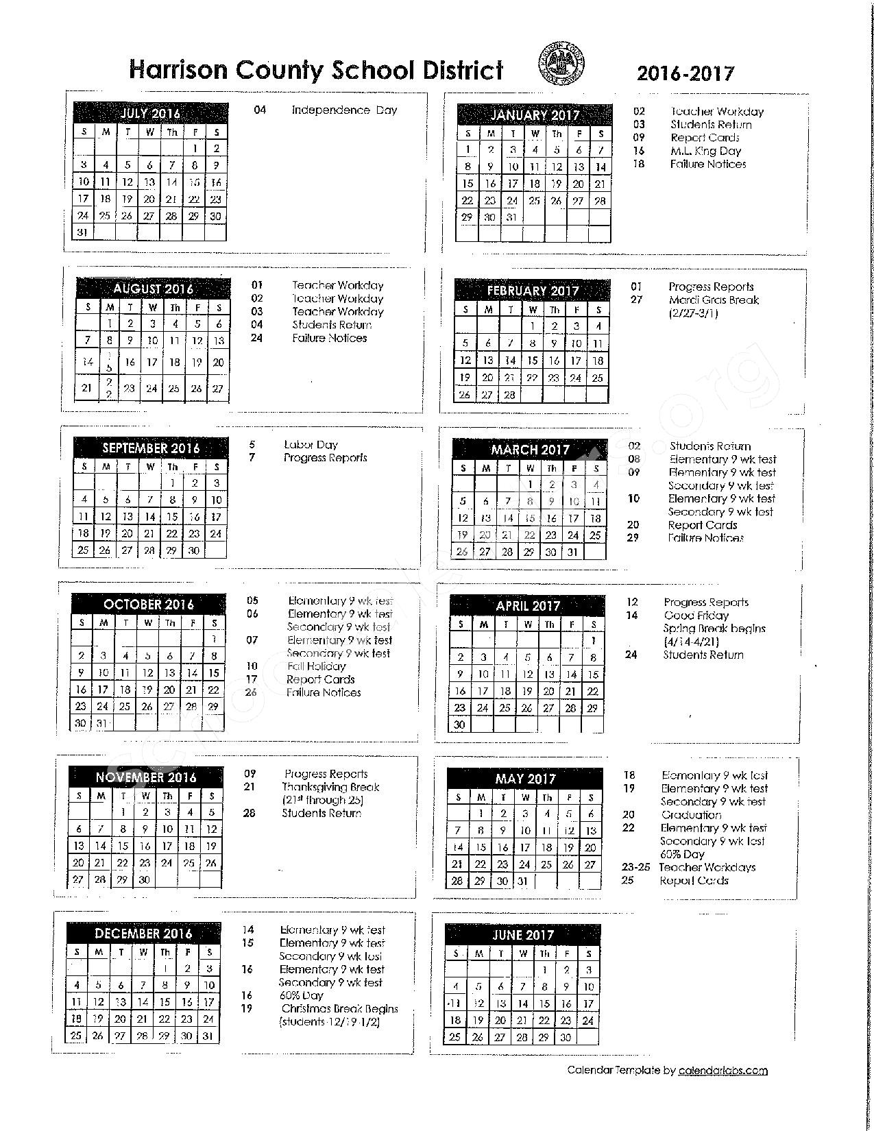 2016 - 2017 District Calendar – Harrison County School District – page 1
