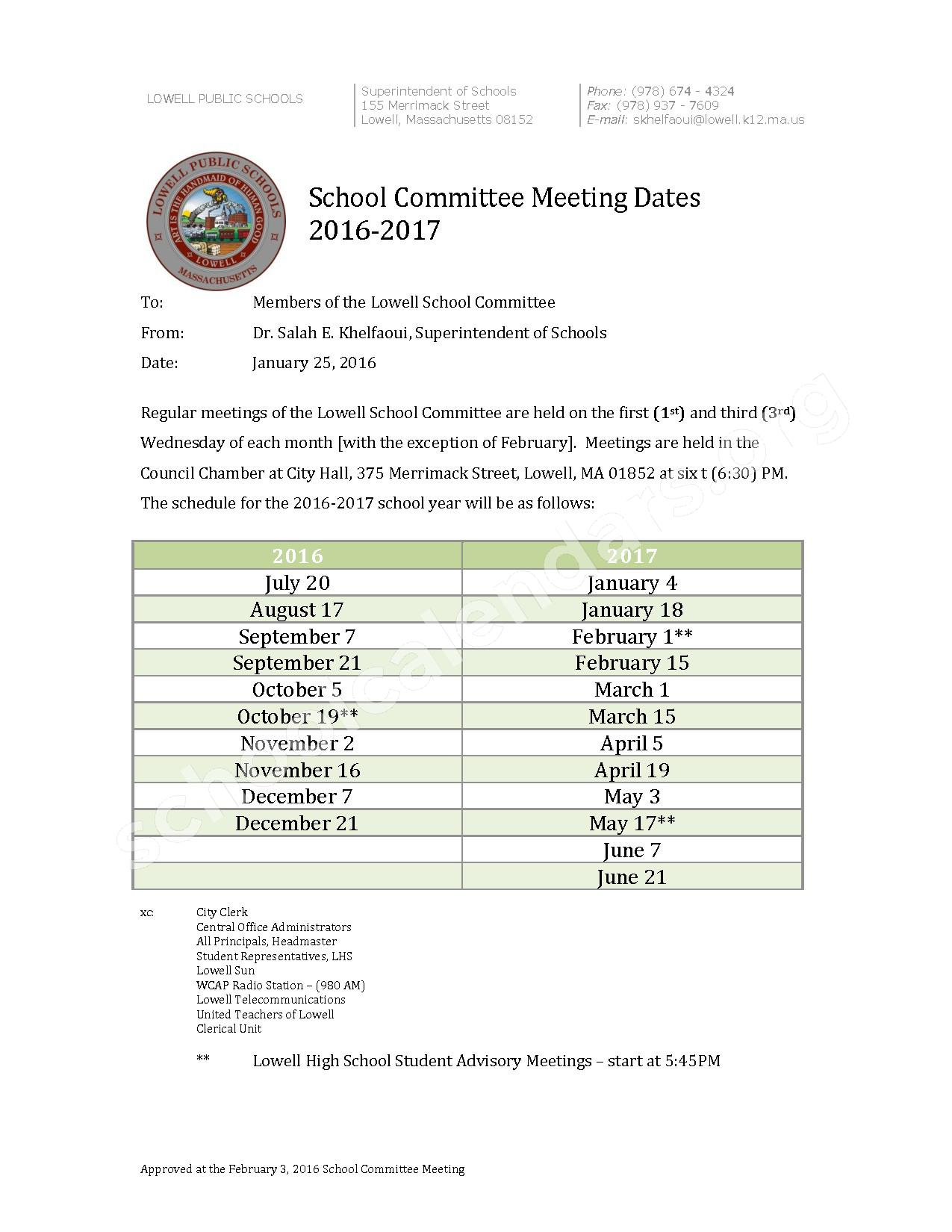 School Committee Meetings (2016 - 2017) page 1