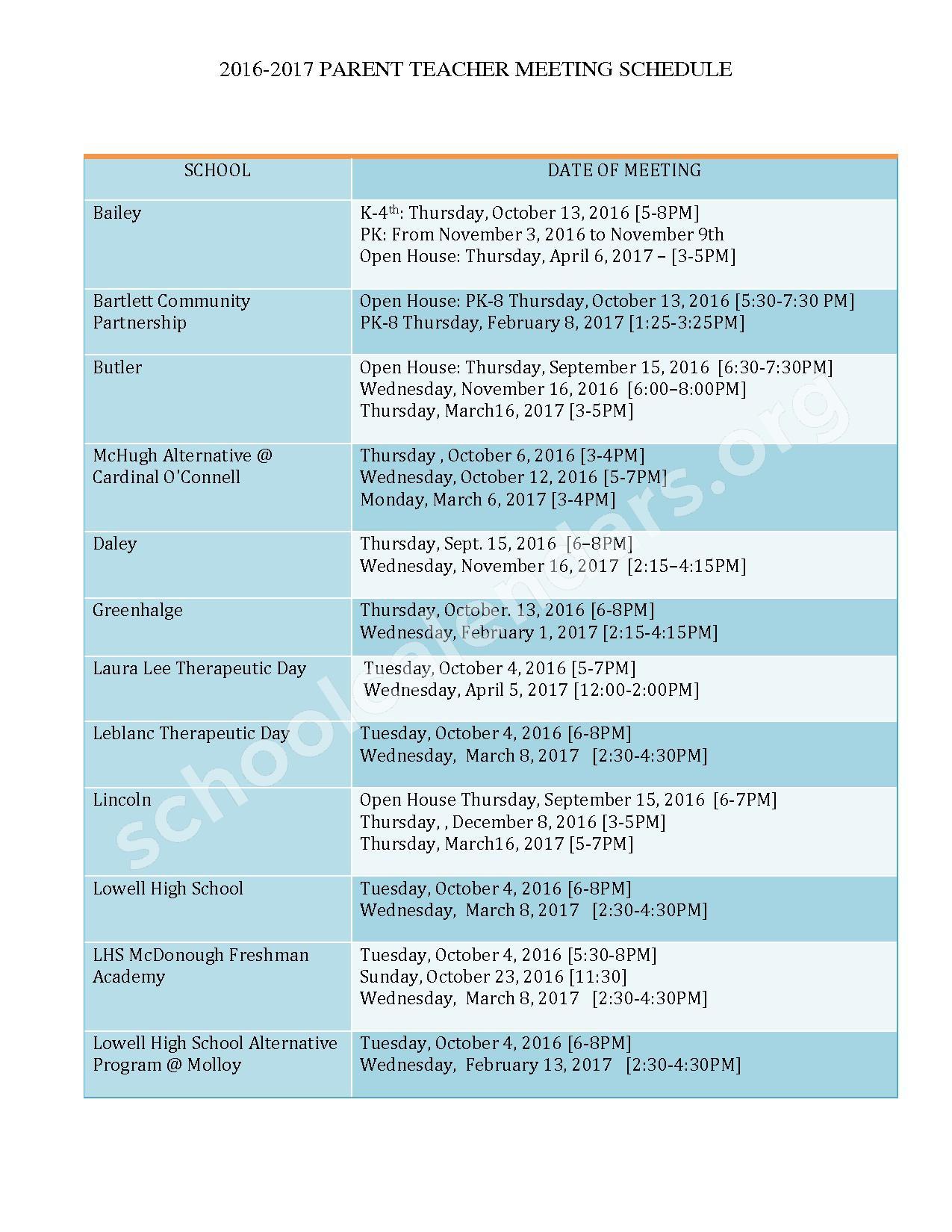 Parent Teacher Meeting Schedule 2016 - 2017 – Peter W Reilly – page 1