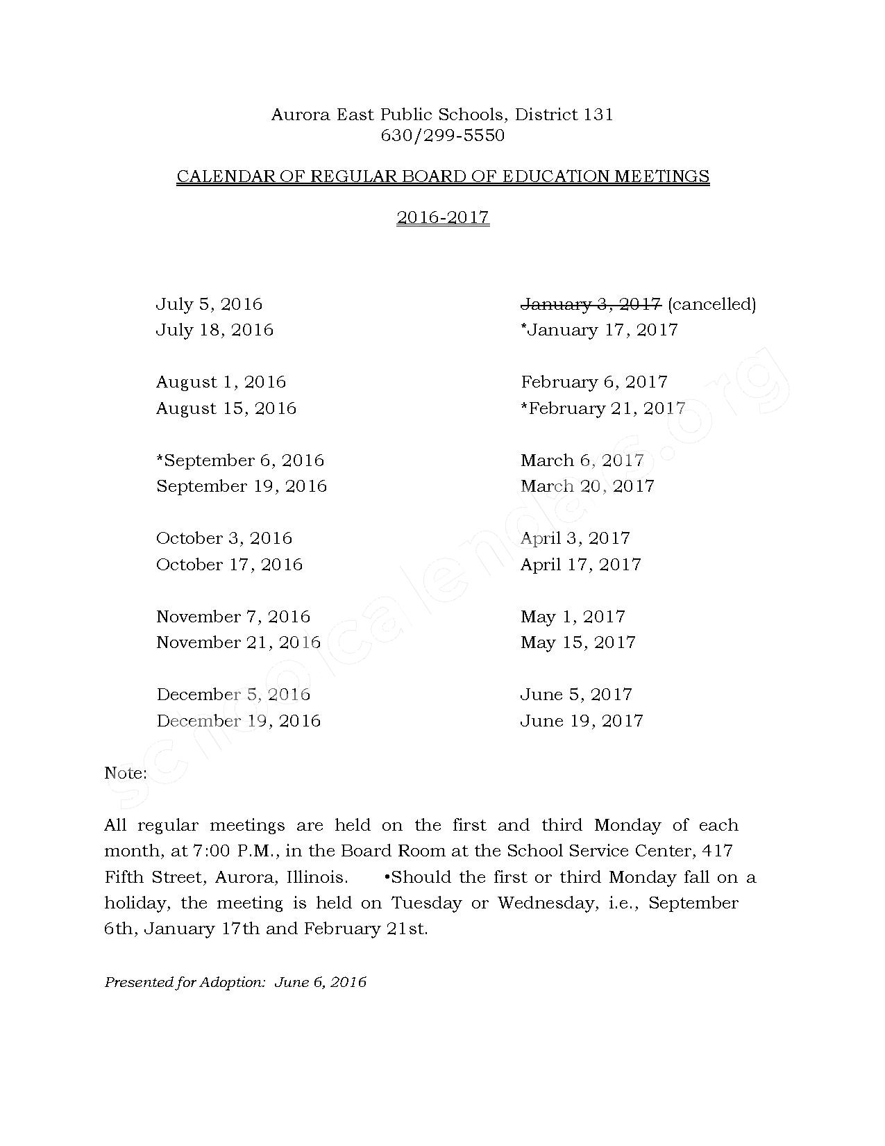 2016 - 2017 Board of Education Meeting Dates – Rose E Krug Elementary School – page 1