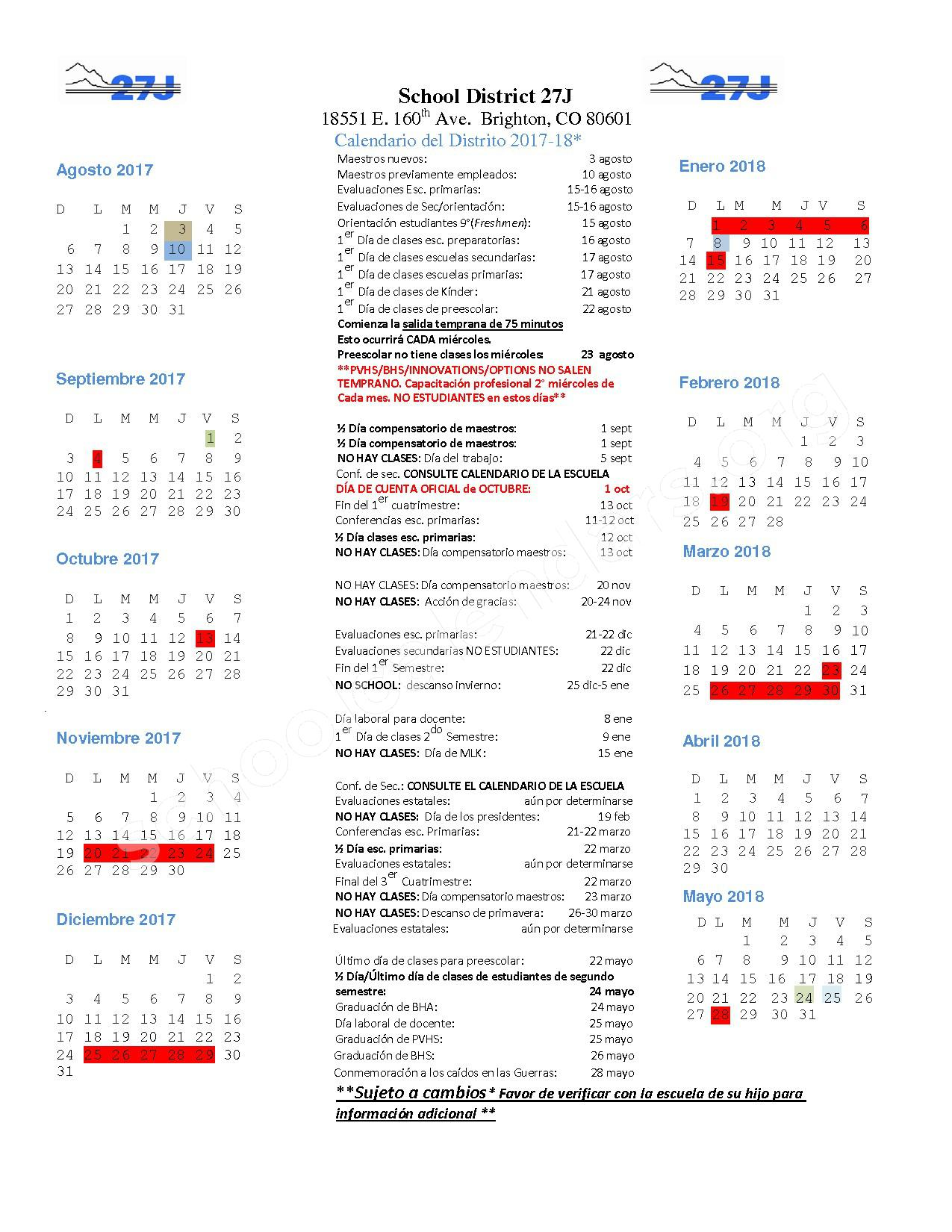 2017 - 2018 District Calendar (Espanol) – Brighton School District 27J – page 1