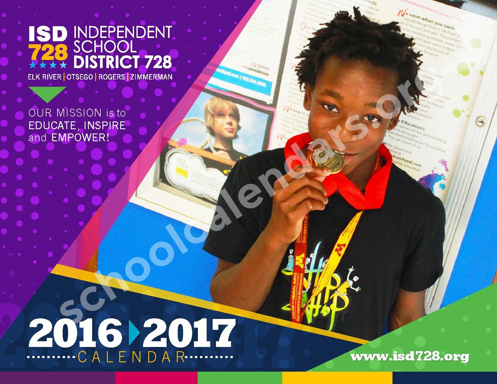 2016 - 2017 District Calendar – Vandenberge Middle School – page 1
