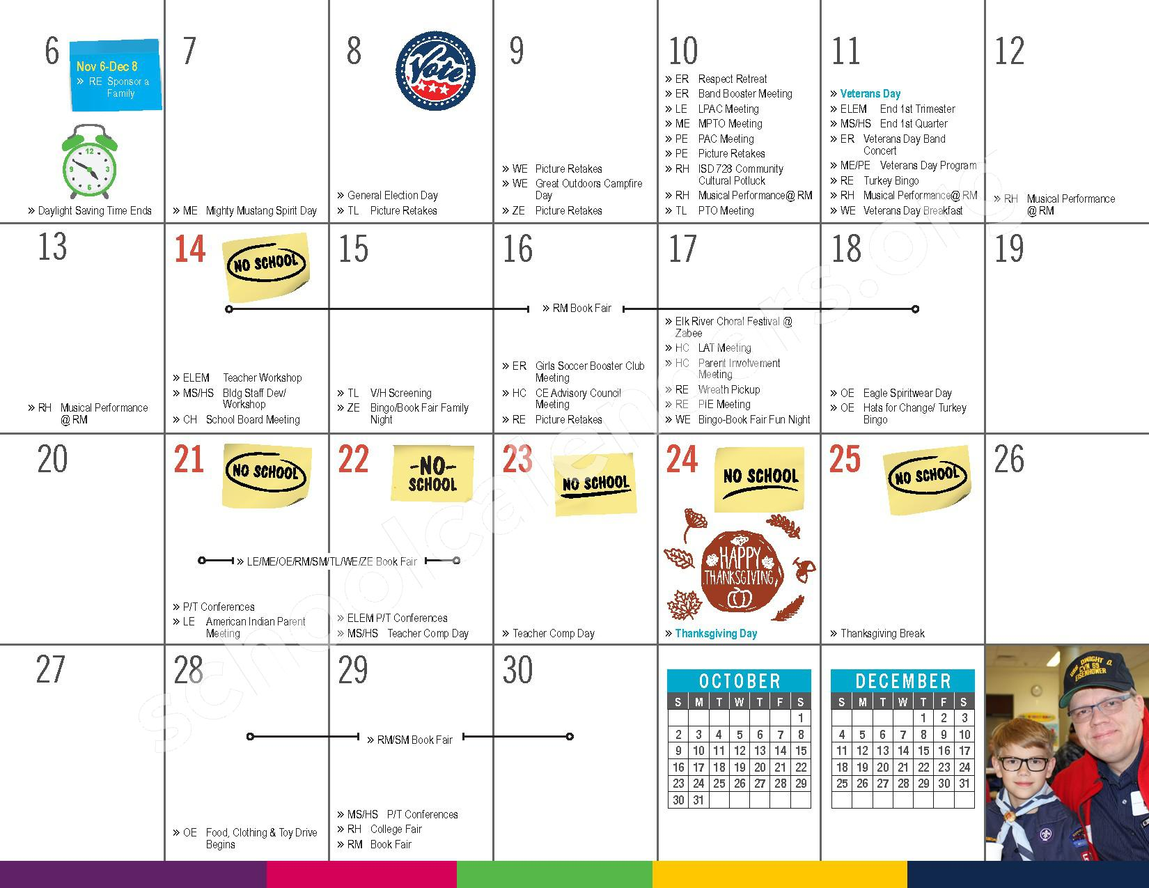 2016 - 2017 District Calendar – Vandenberge Middle School – page 11