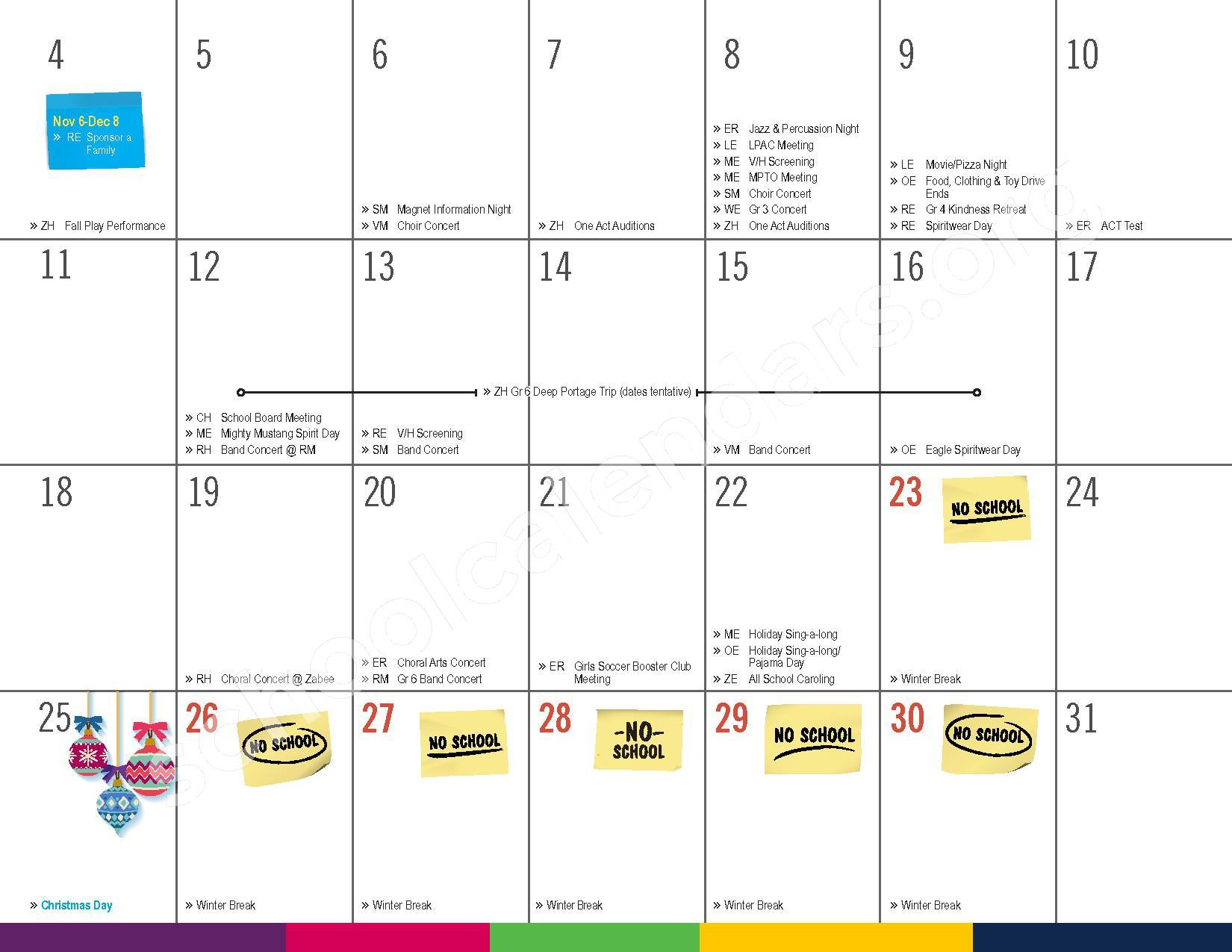 2016 - 2017 District Calendar – Vandenberge Middle School – page 13