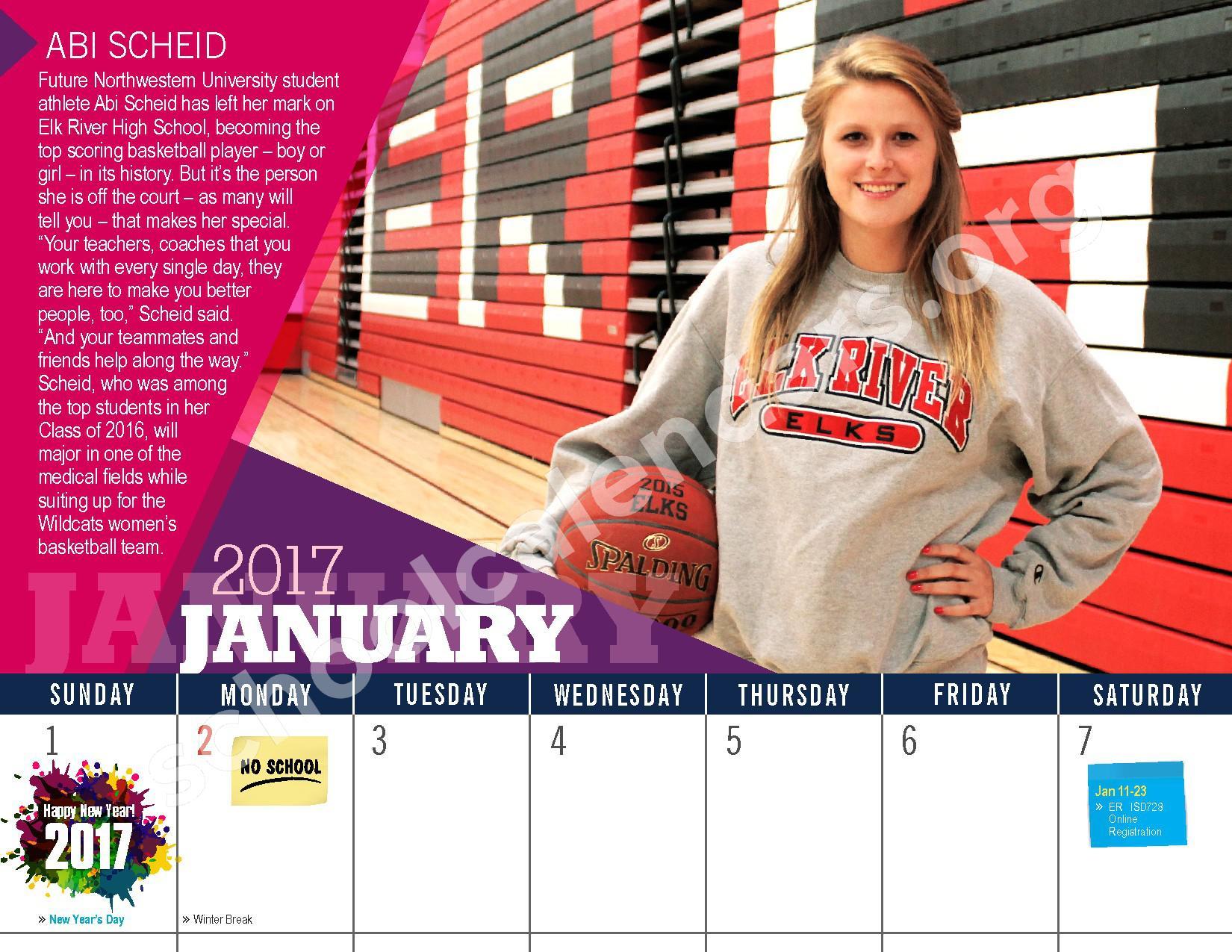 2016 - 2017 District Calendar – Vandenberge Middle School – page 14