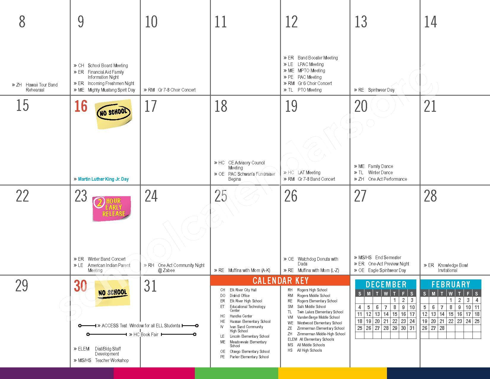 2016 - 2017 District Calendar – Vandenberge Middle School – page 15