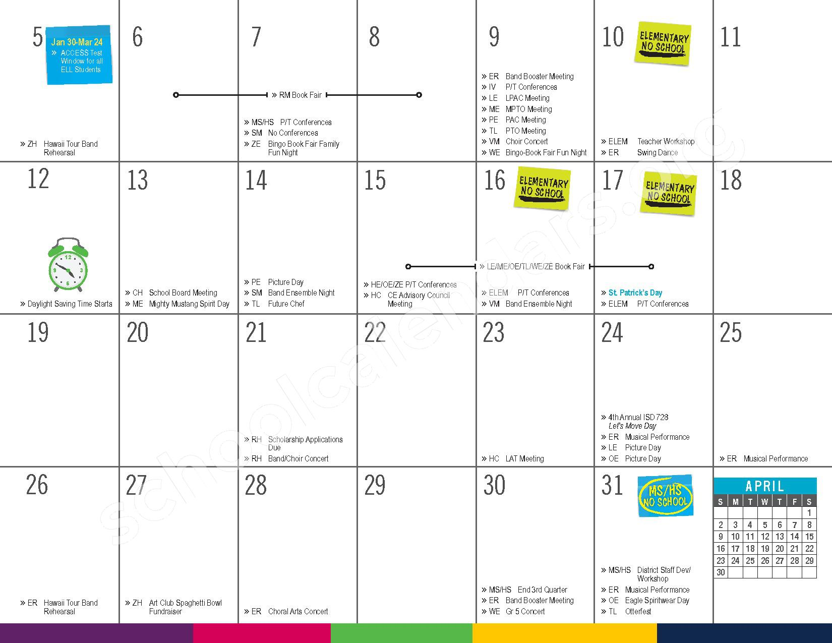 2016 - 2017 District Calendar – Vandenberge Middle School – page 19