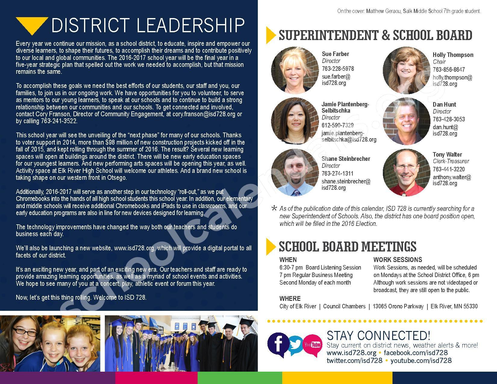 2016 - 2017 District Calendar – Vandenberge Middle School – page 2