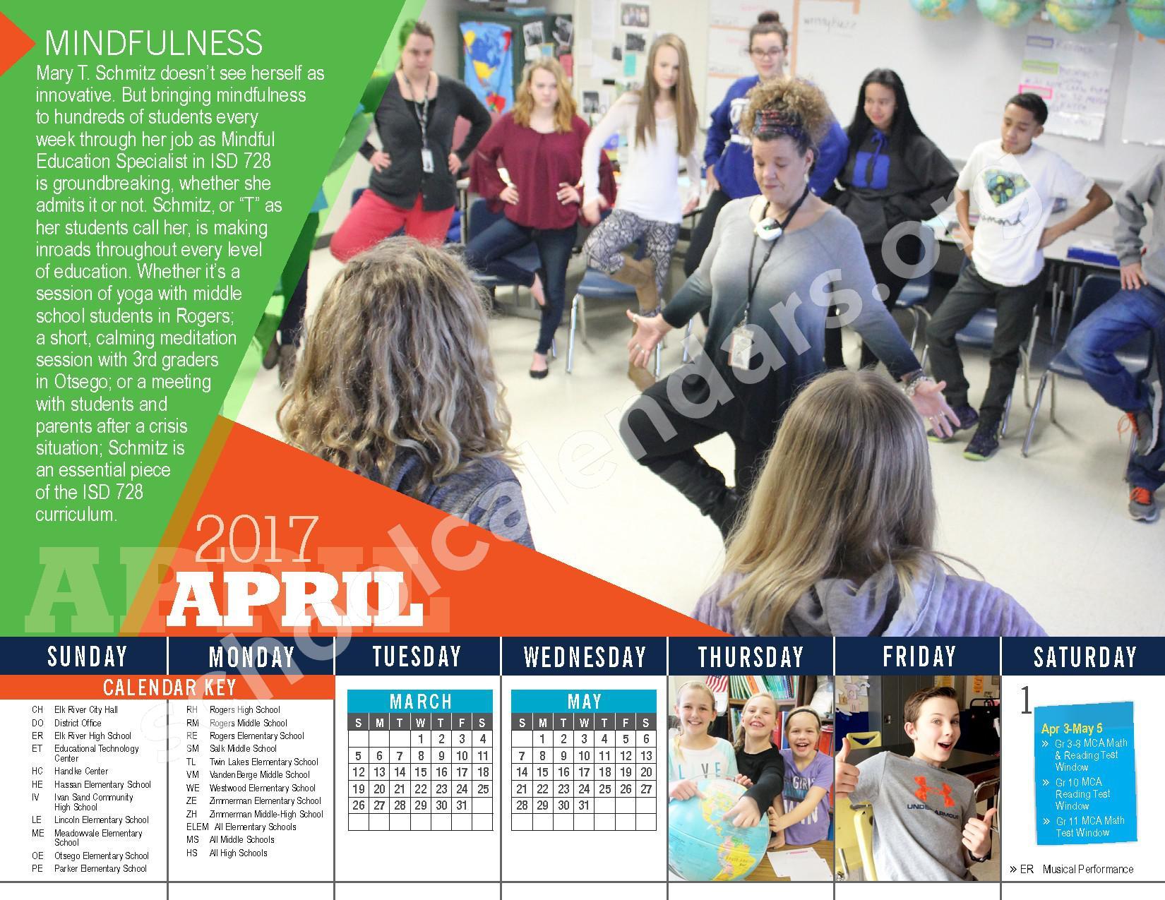 2016 - 2017 District Calendar – Vandenberge Middle School – page 20