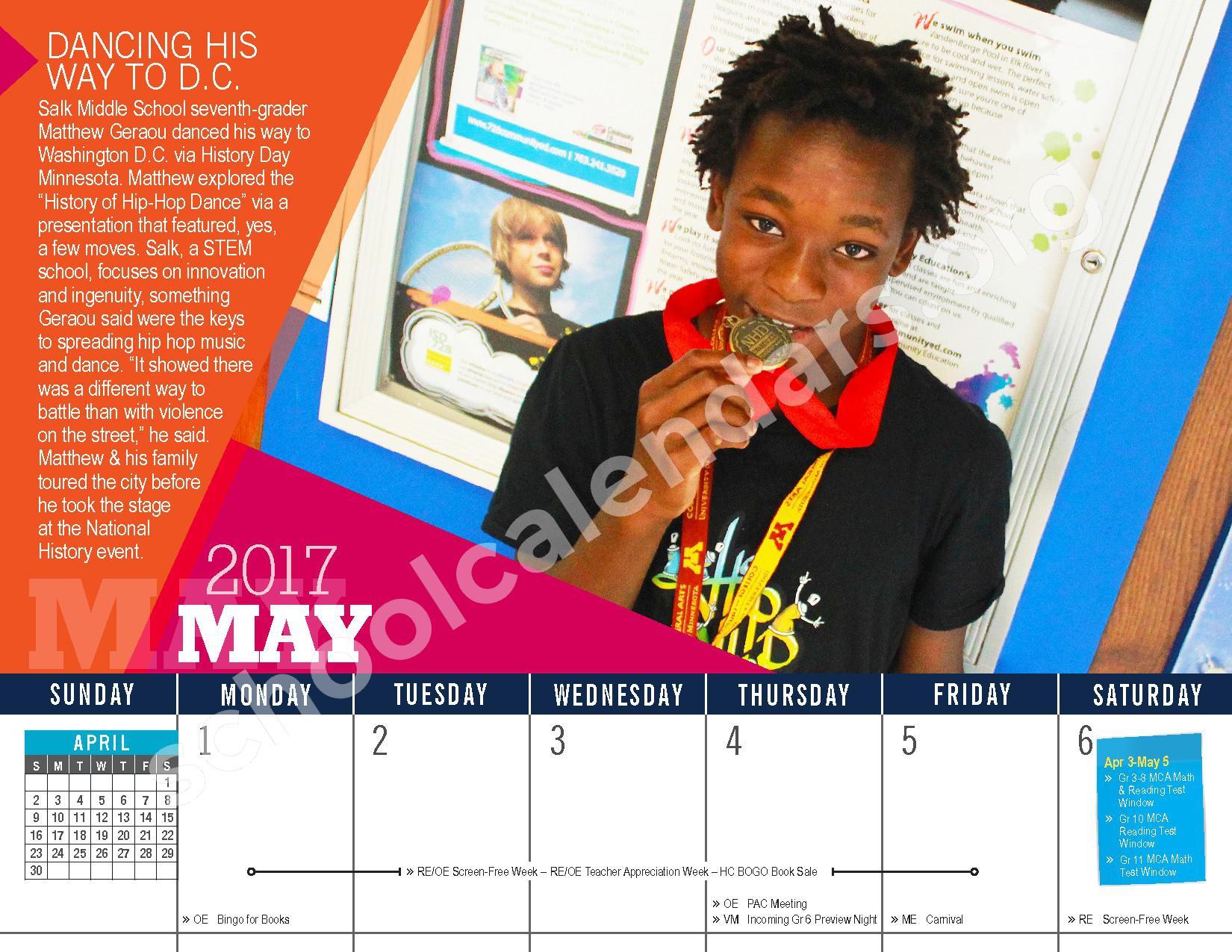 2016 - 2017 District Calendar – Vandenberge Middle School – page 22